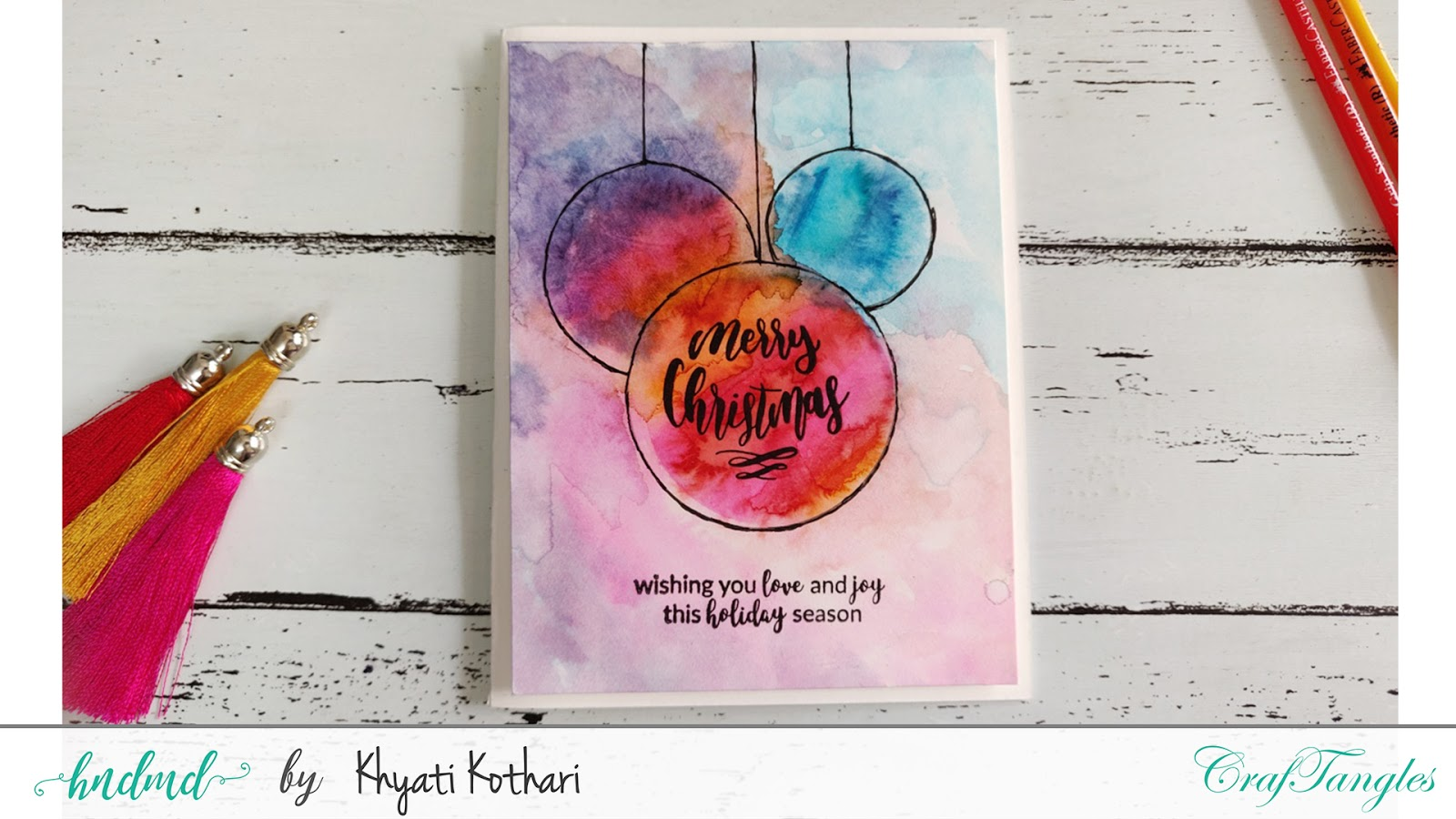 How to make Modern Christmas Watercolor cards with Video Tutorial 3