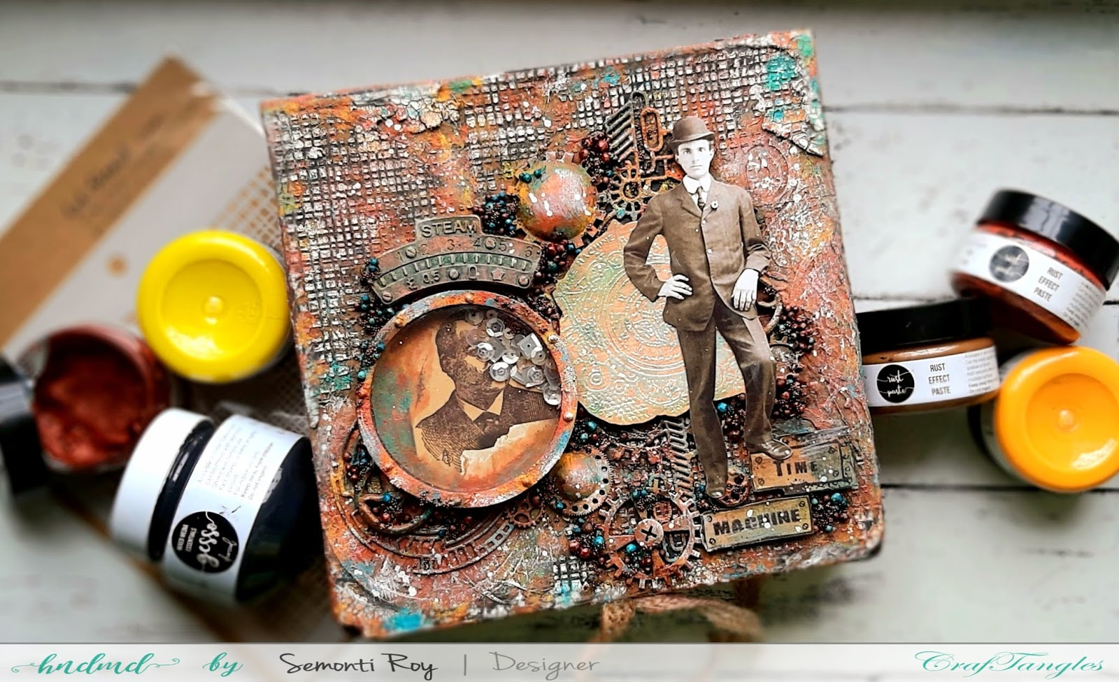 Time Machine Altered Box With Rust Effect Paste 5