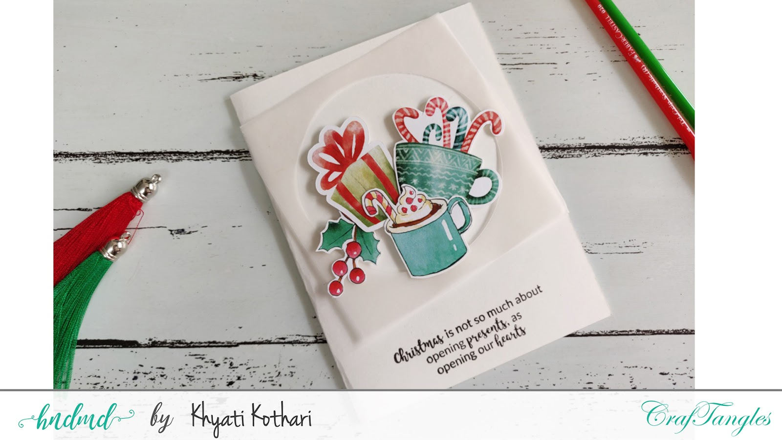Watercolor Christmas cards using CrafTangles elements pack - Video tutorial 2