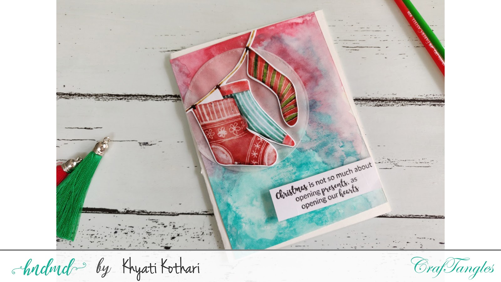 Watercolor Christmas cards using CrafTangles elements pack - Video tutorial 3