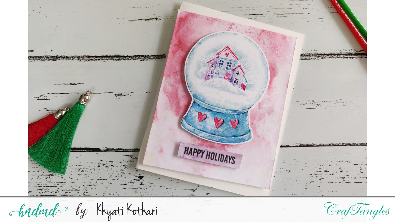 Watercolor Christmas cards using CrafTangles elements pack - Video tutorial 4