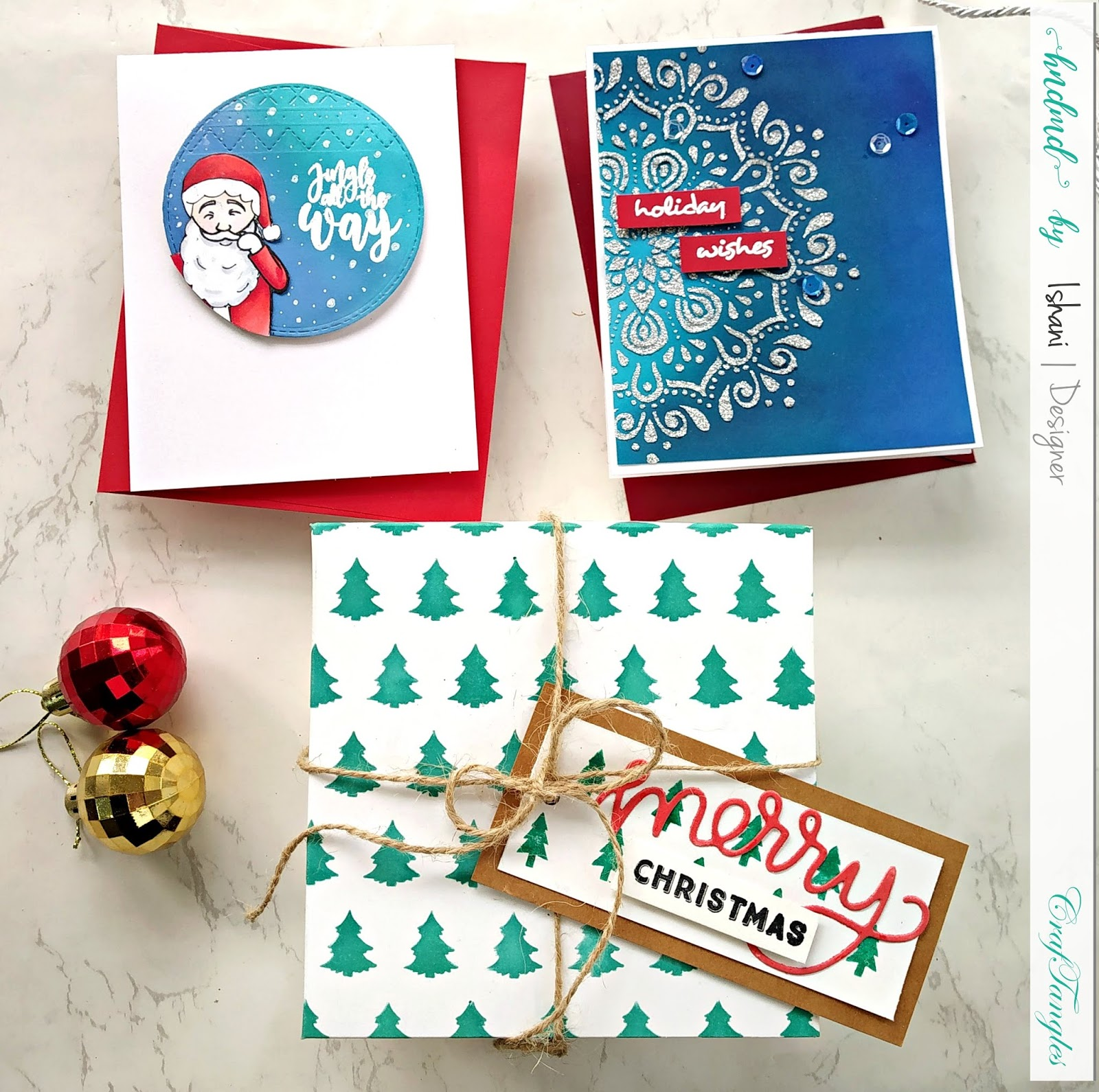 Use Non Christmas supplies for Christmas cards - Video tutorial 7