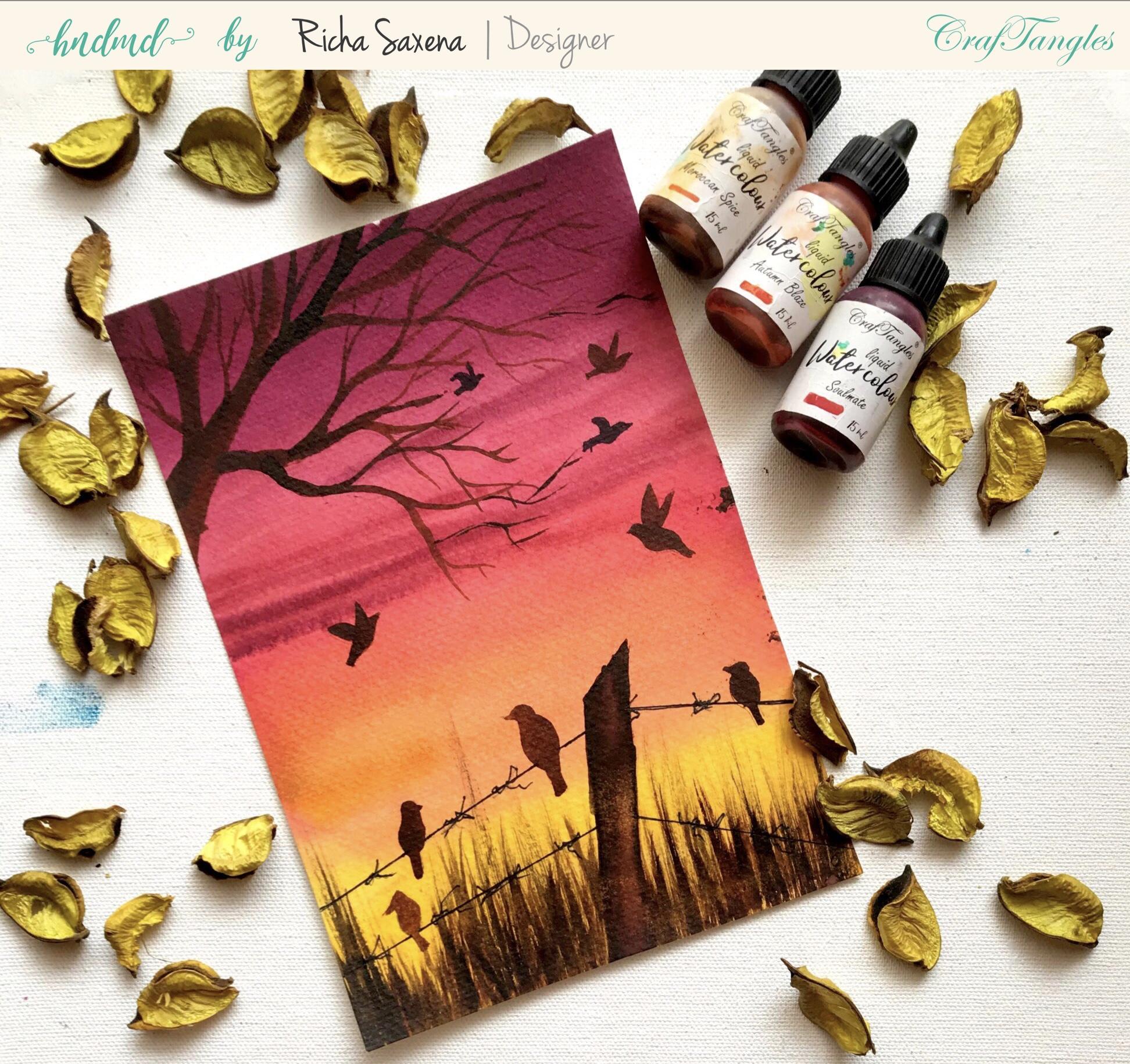 Create easy Watercolour farm sunset scene 2