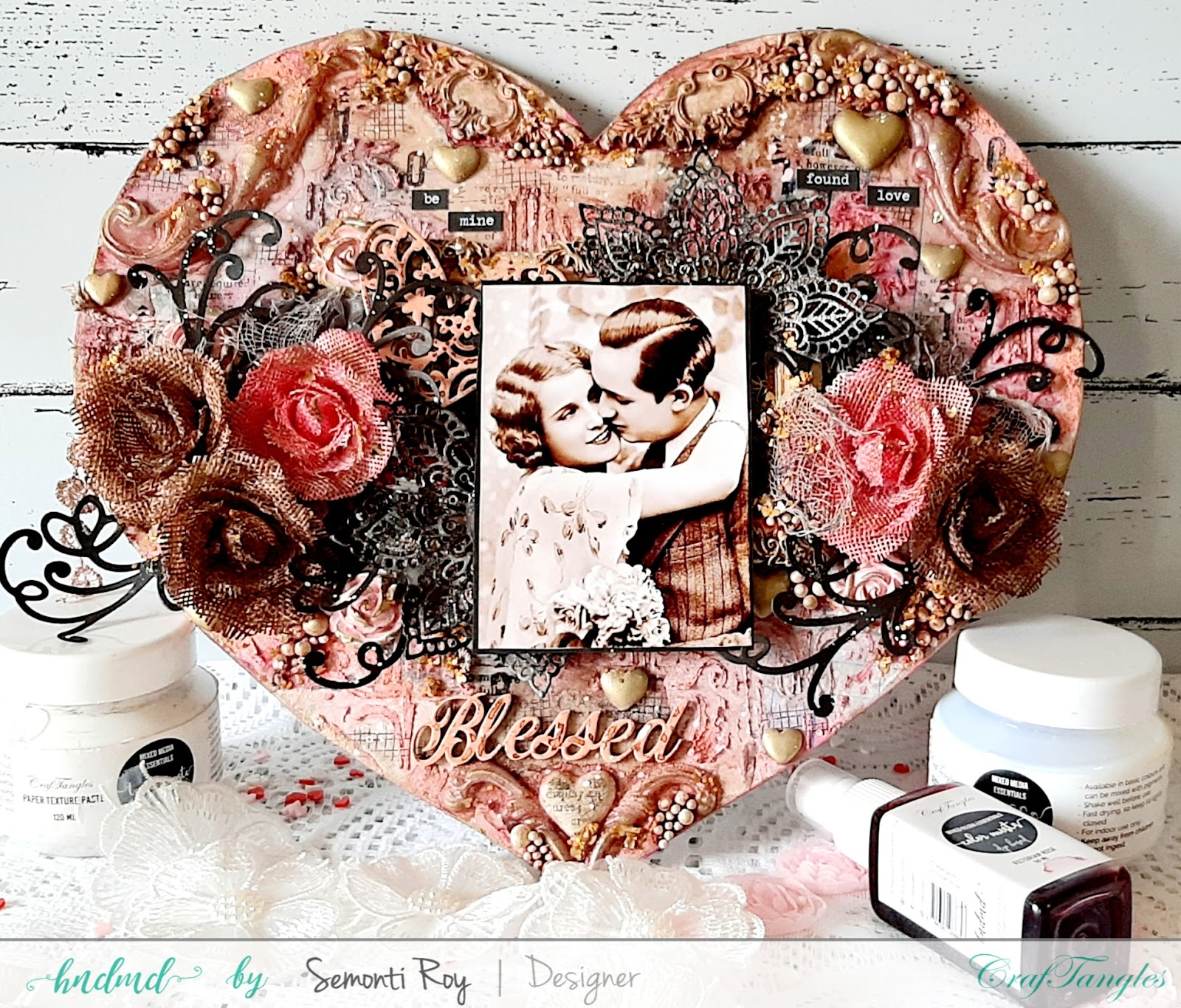 Vintage Love - A Heart Shape mixed media Layout 4