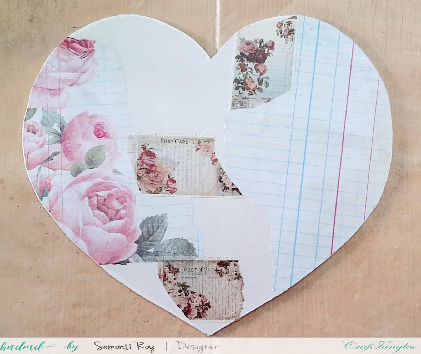 Vintage Love - A Heart Shape mixed media Layout 5