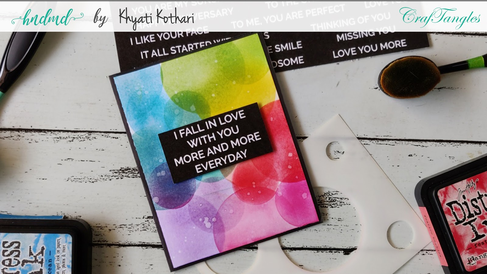 Rainbow Bokeh Card using CrafTangles masking Stencil technique video - Cardmaking technique 3