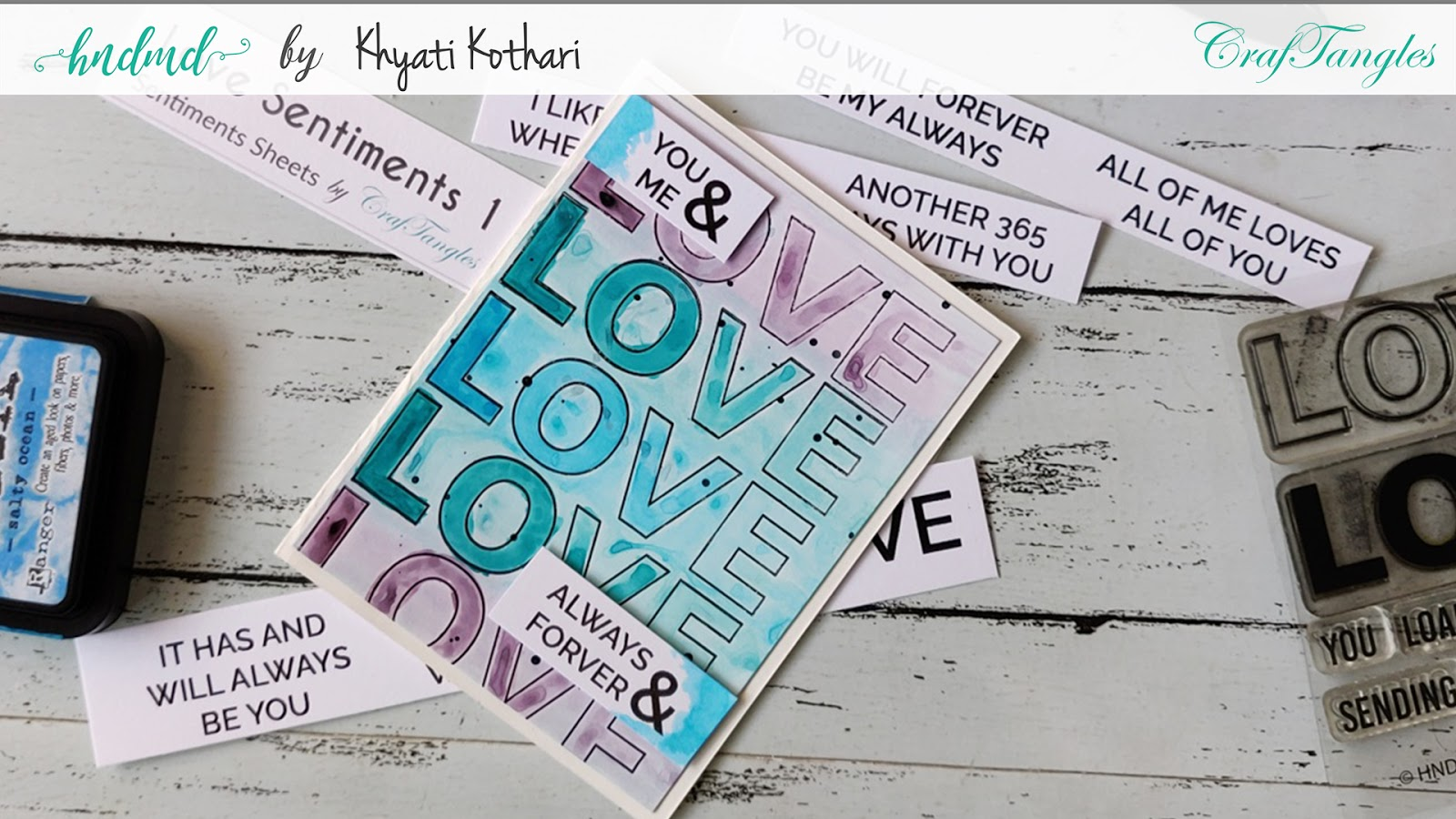 Watercolor Ombre Love Card - With video tutorial 5