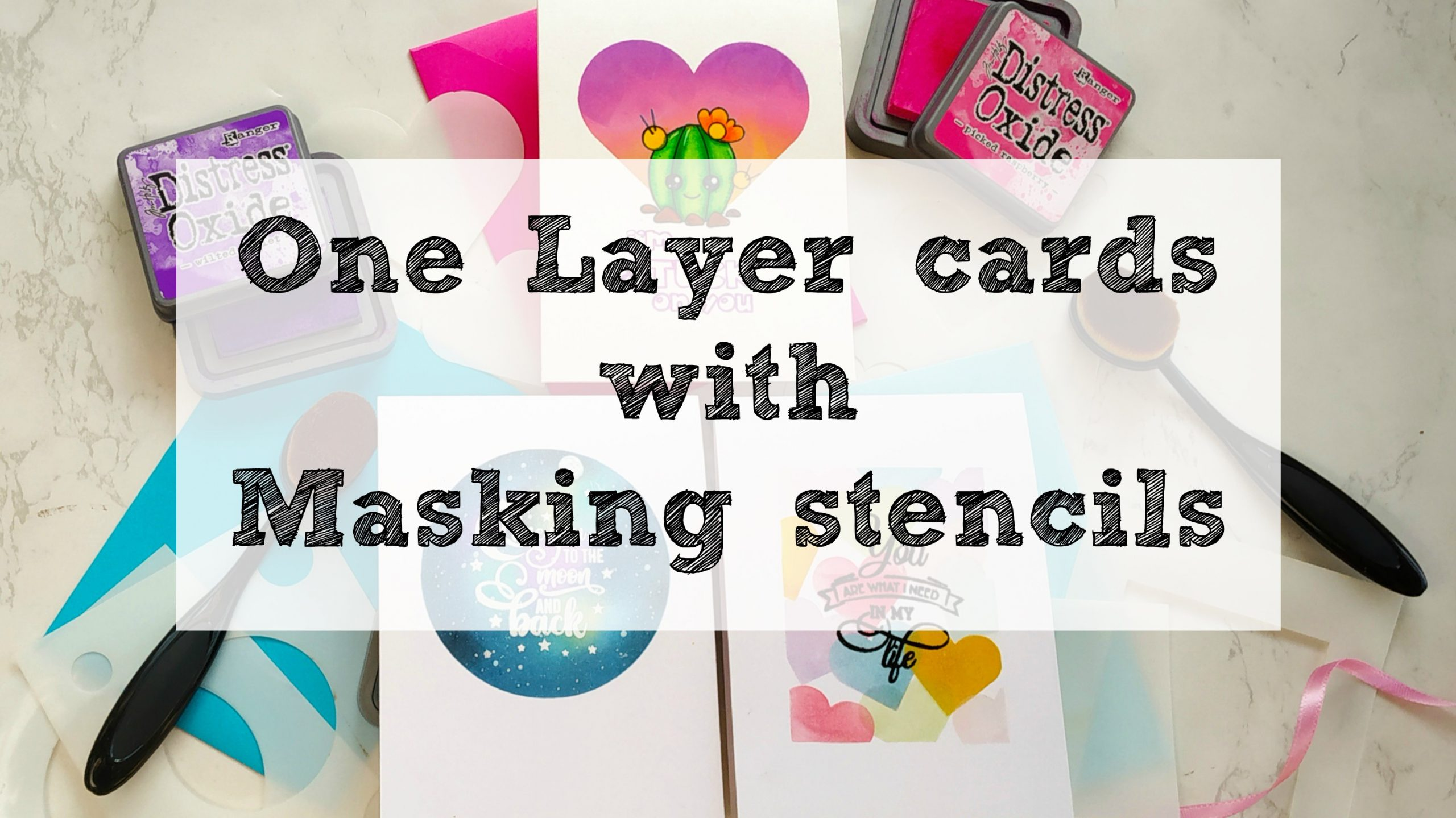 One layer cards with masking stencils
