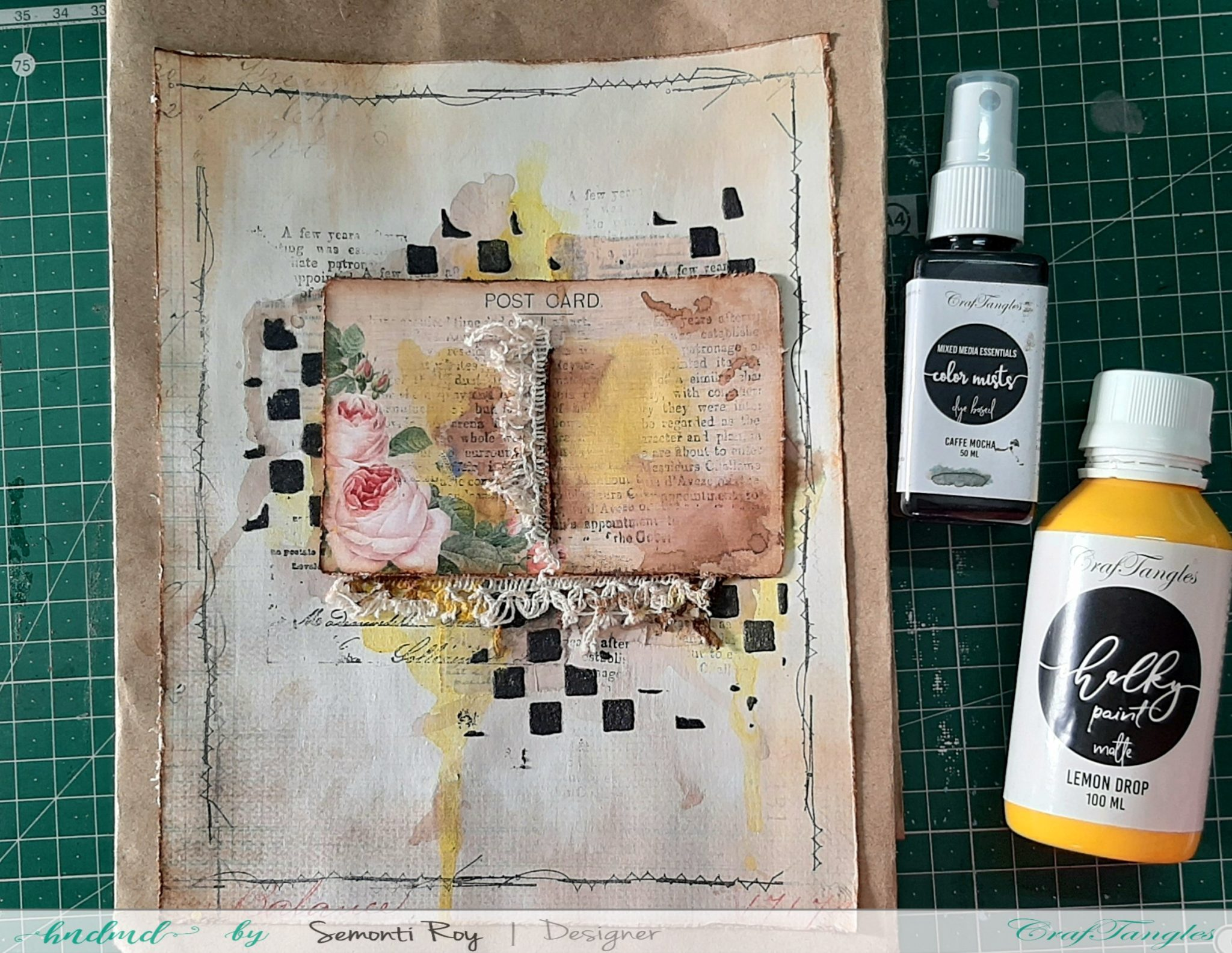 Designer Paper Gift Bag With Mixed Media Technique 11