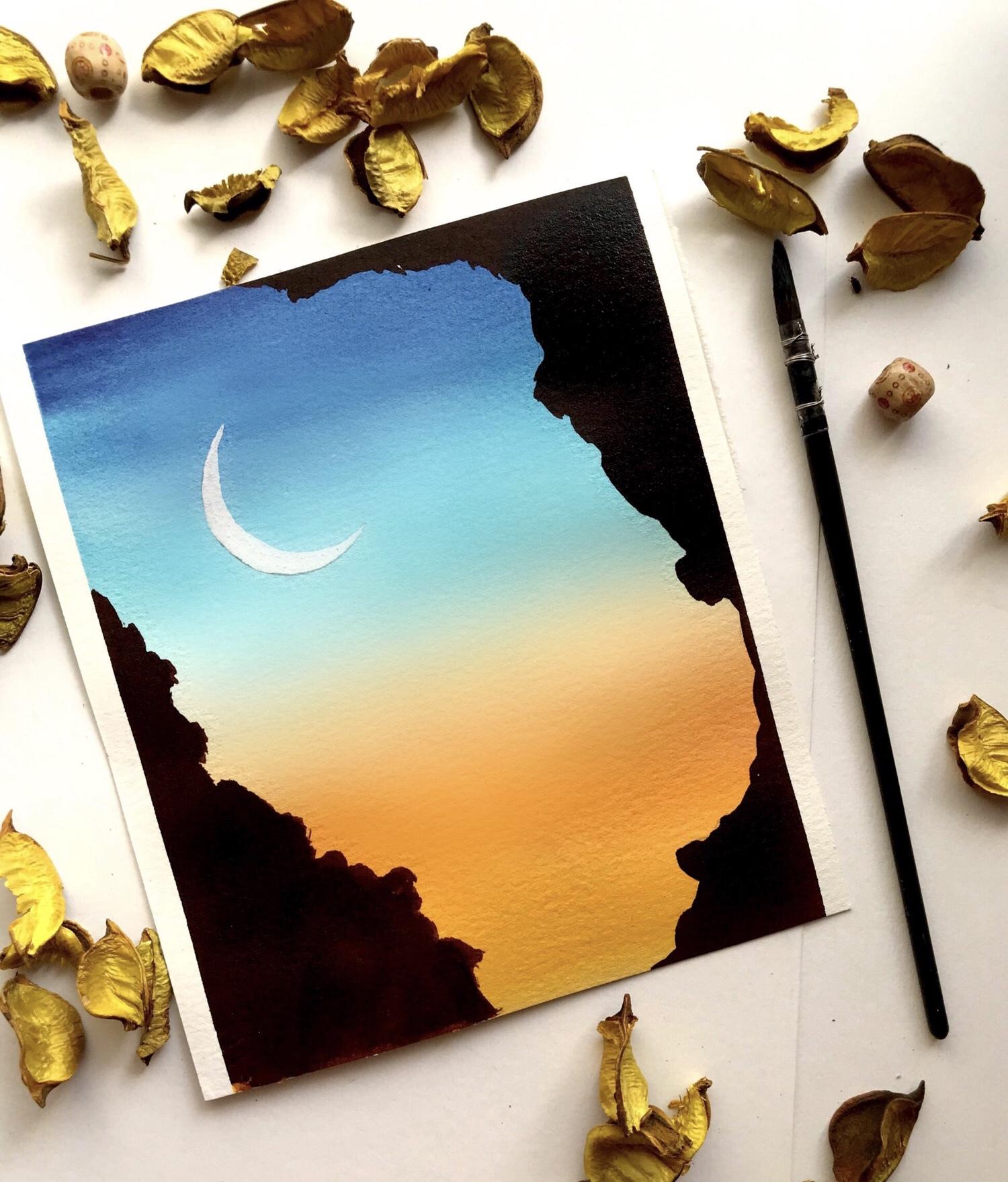 How to create watercolour sunset - beginner tutorial 6