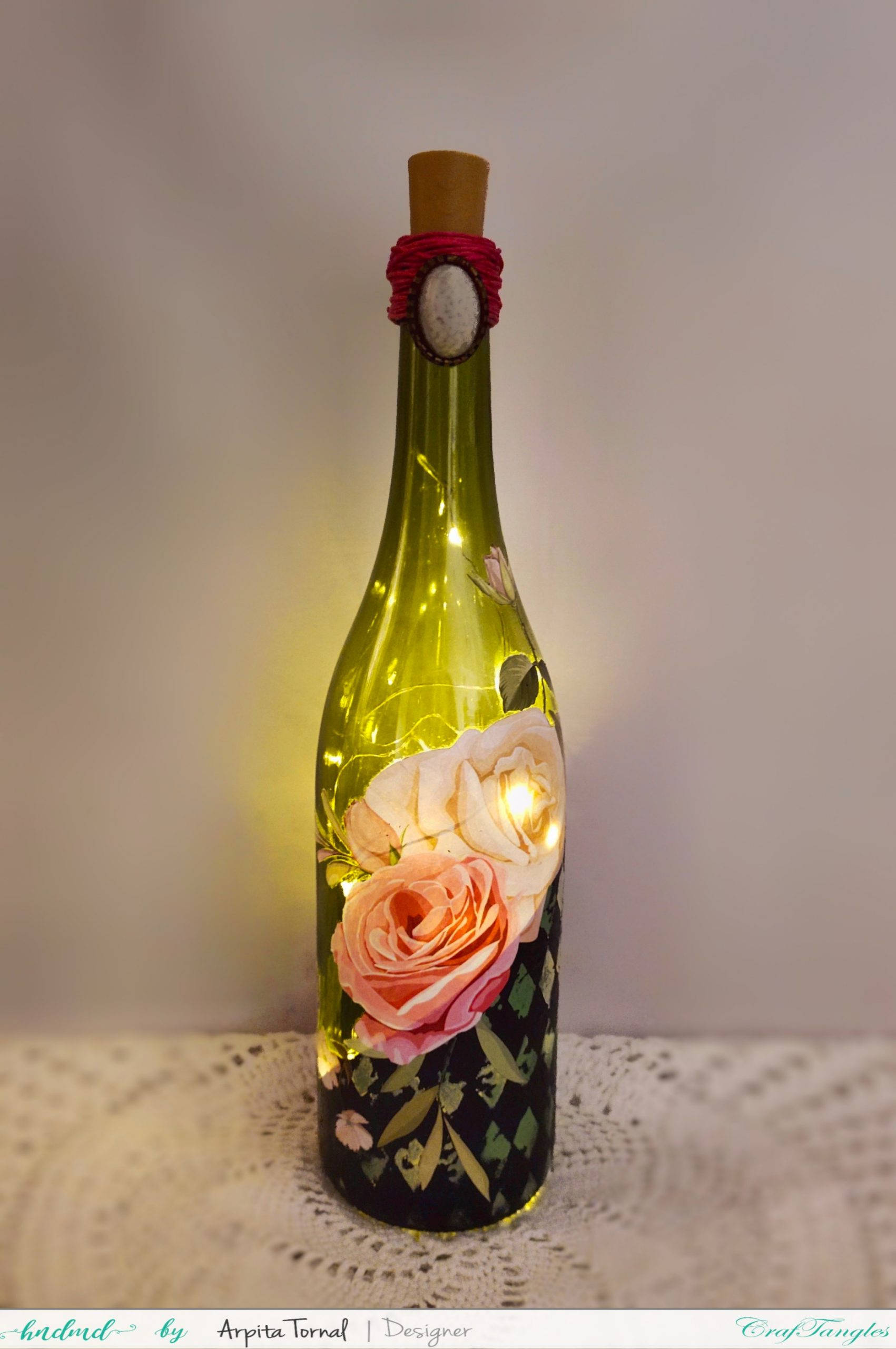 How to Decoupage on glass bottles 2