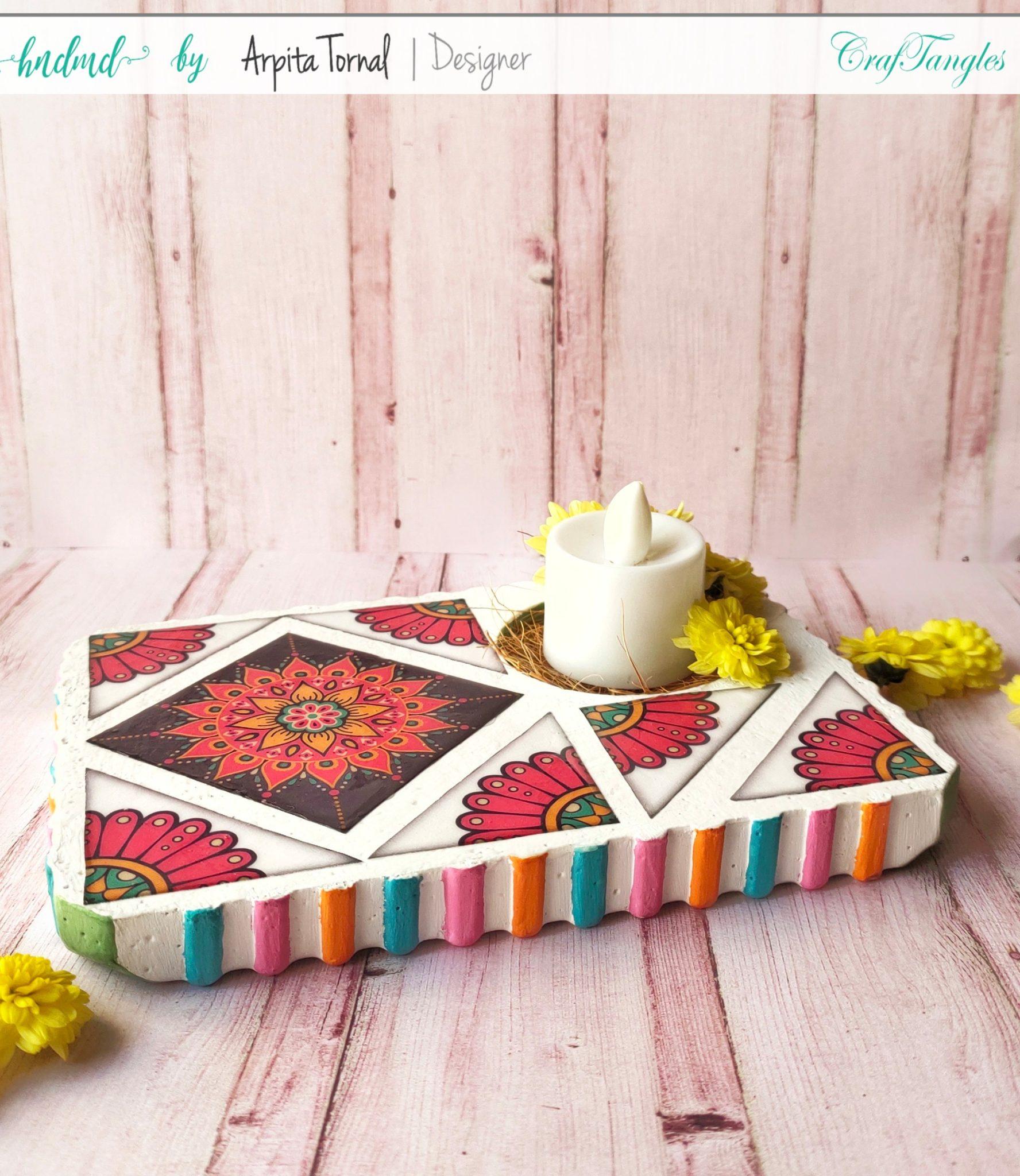 How to do Mosaic Decoupage on Tea Holder 2