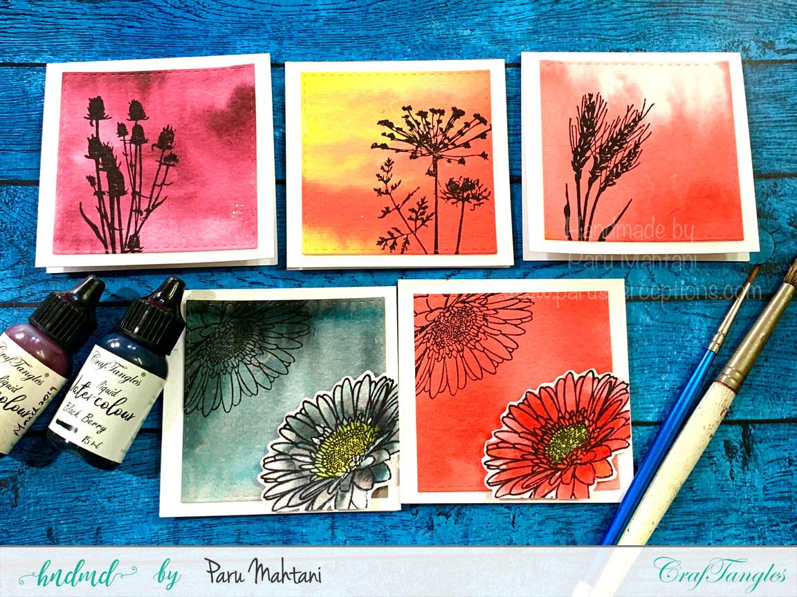 Watercolour mini note cards