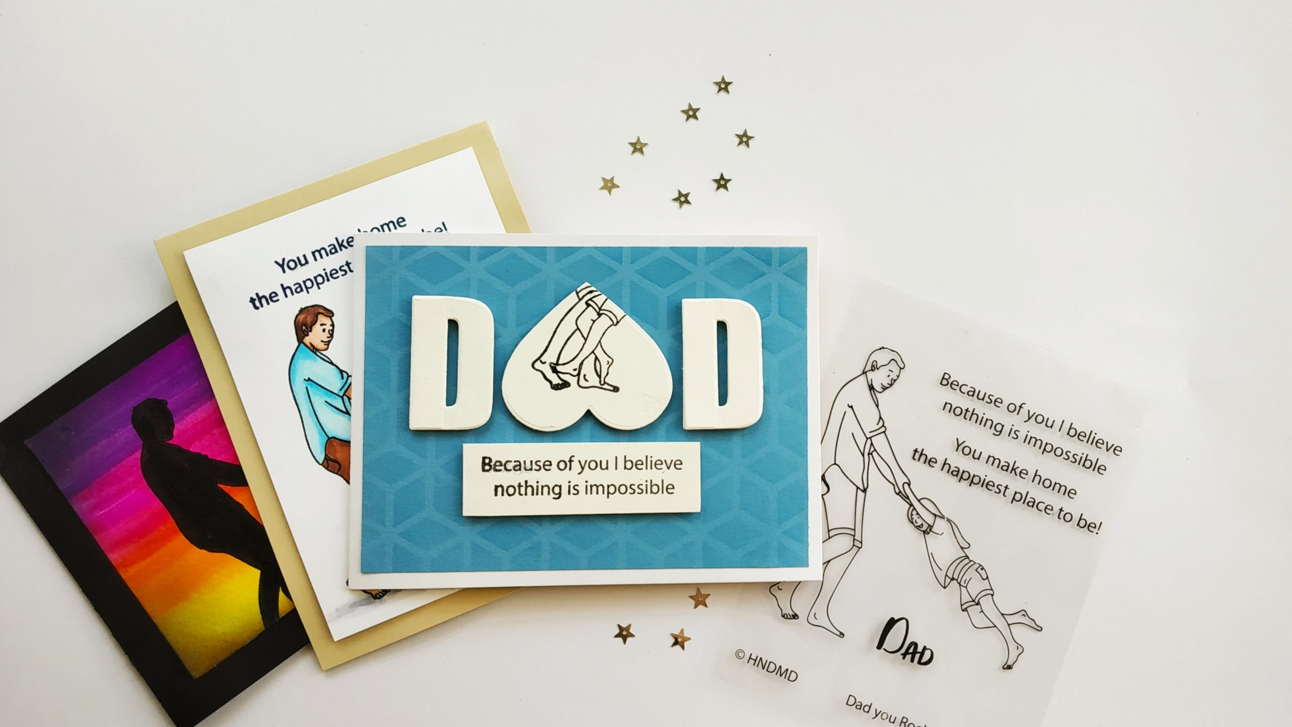 Father's day cards by Ishani using Dad you rock stamp set to stretch your stamps and make cool cards