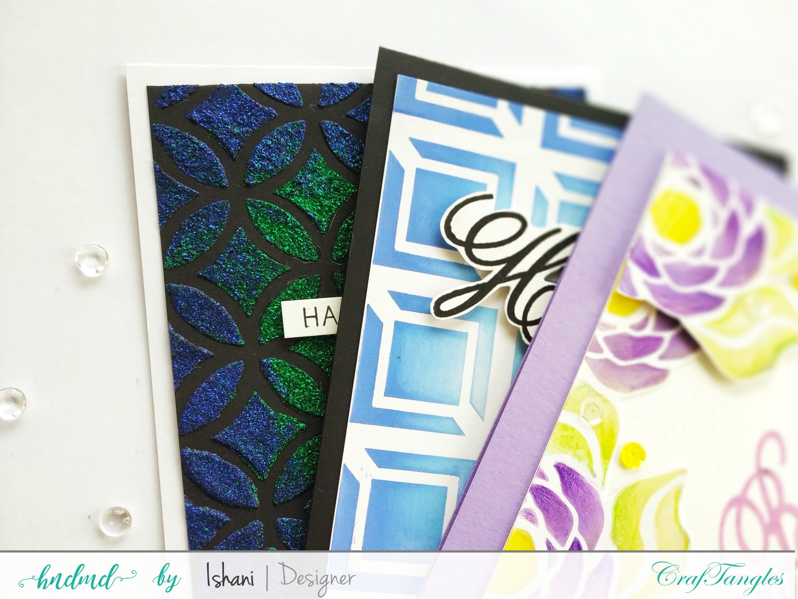 3 Beautiful Birthday cards with stencils 1