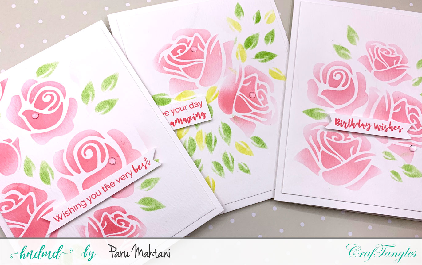 1 stencil, 3 easy cards! 1