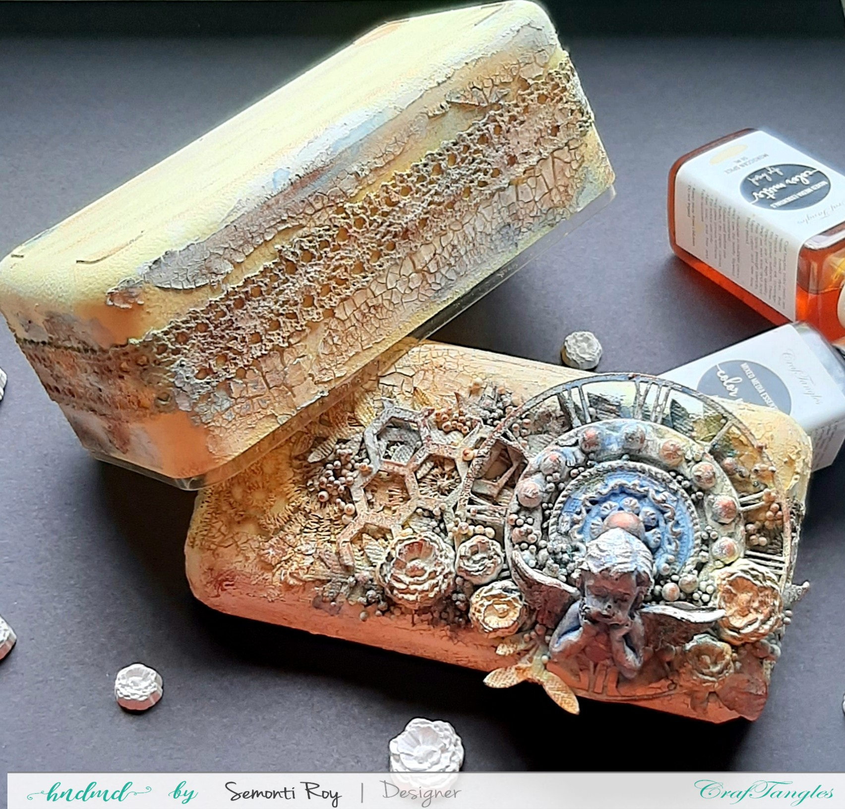 Altered mixed media box with video tutorial 8