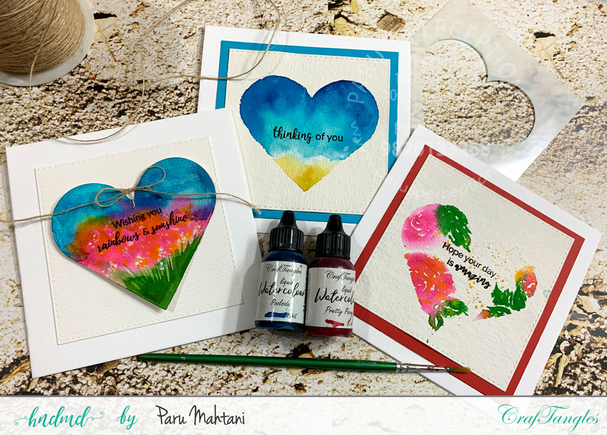 3 quick and easy Watercolour cards. 1
