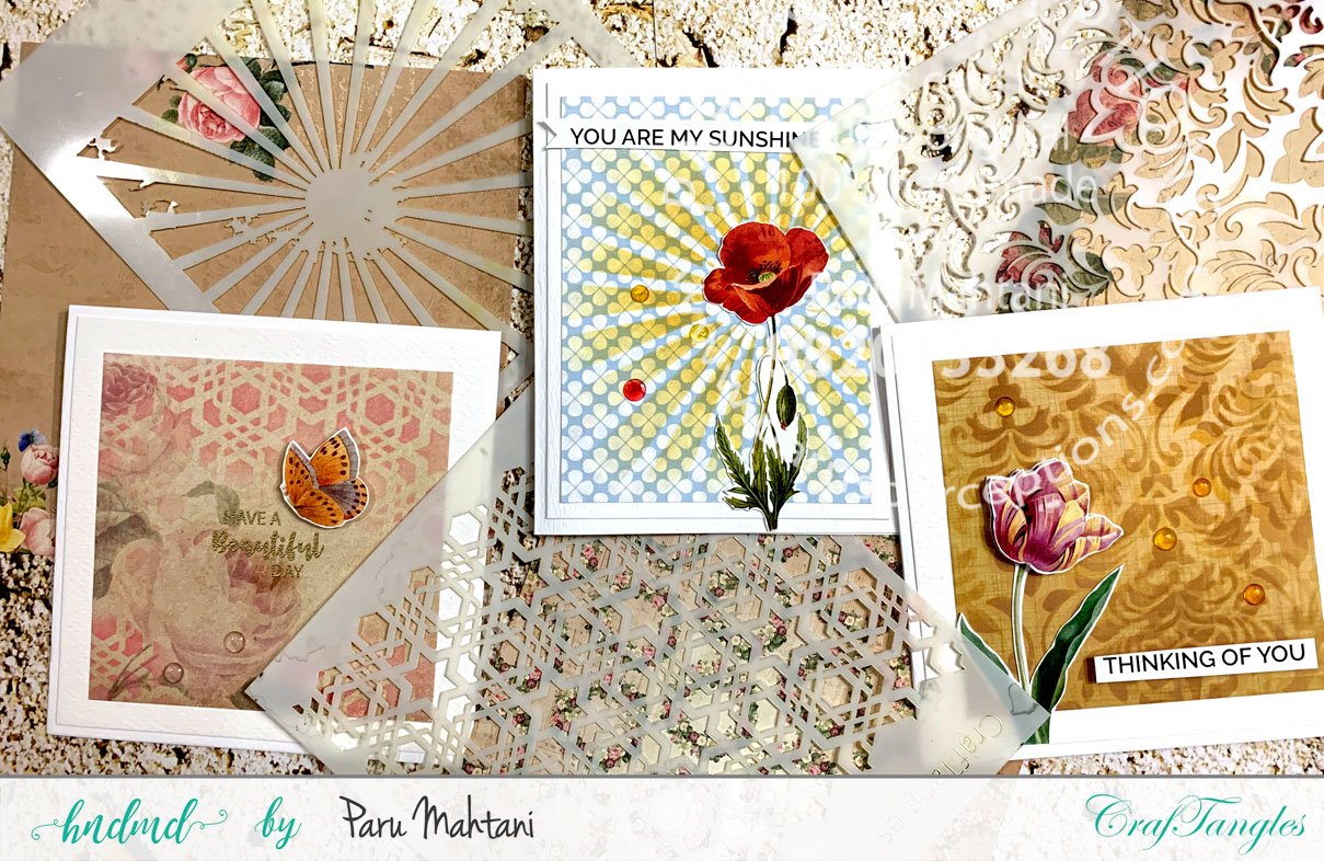 stencil and patterned paper