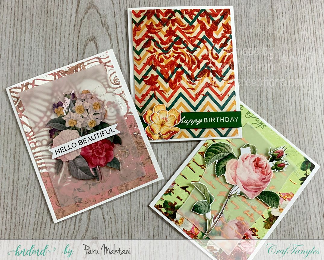 3 fun cards using texture paste, stencils and patterned paper 1