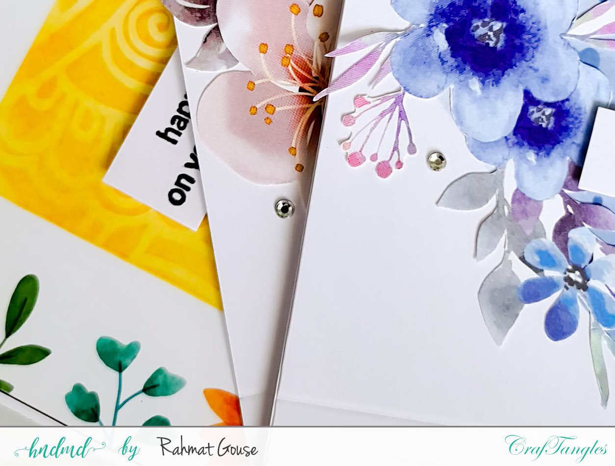 Quick floral cards using CrafTangles element  packs 3