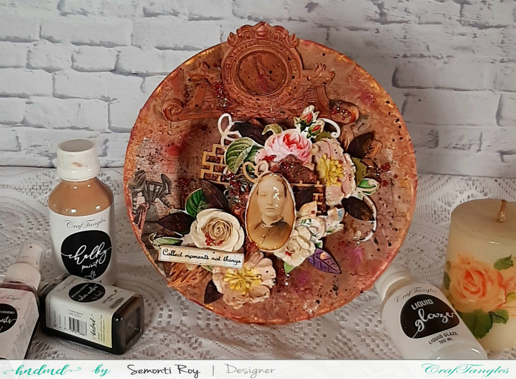 Mixed Media Vintage Wall Plate