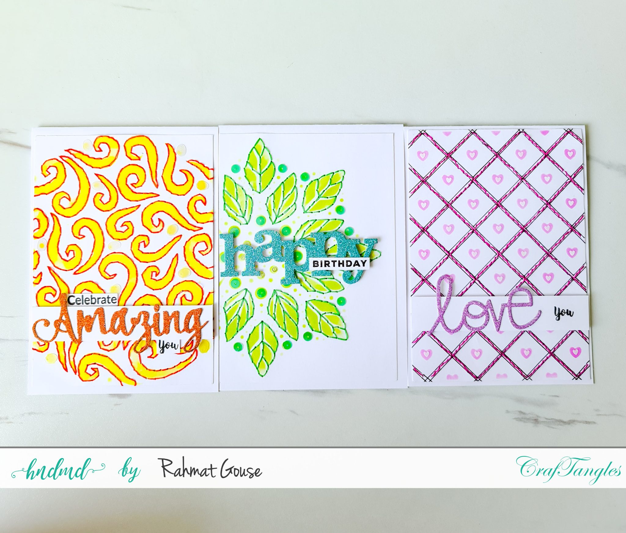 3 cards in the post with sewing