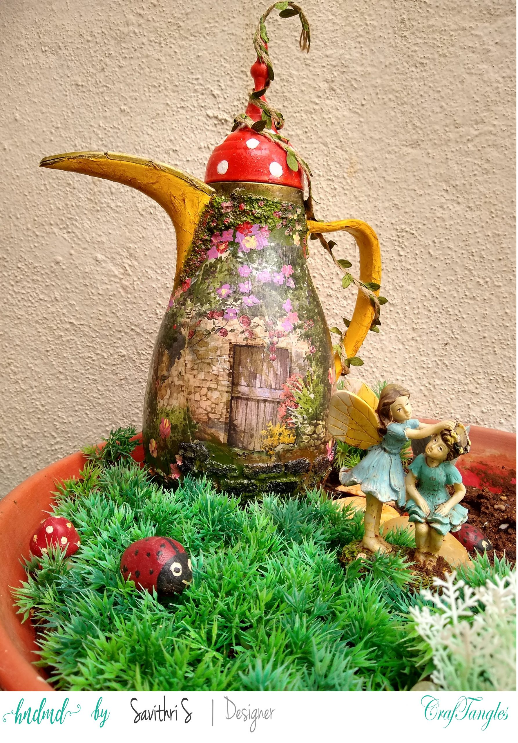 Magical and Whimsical Decoupage Fairy House 1