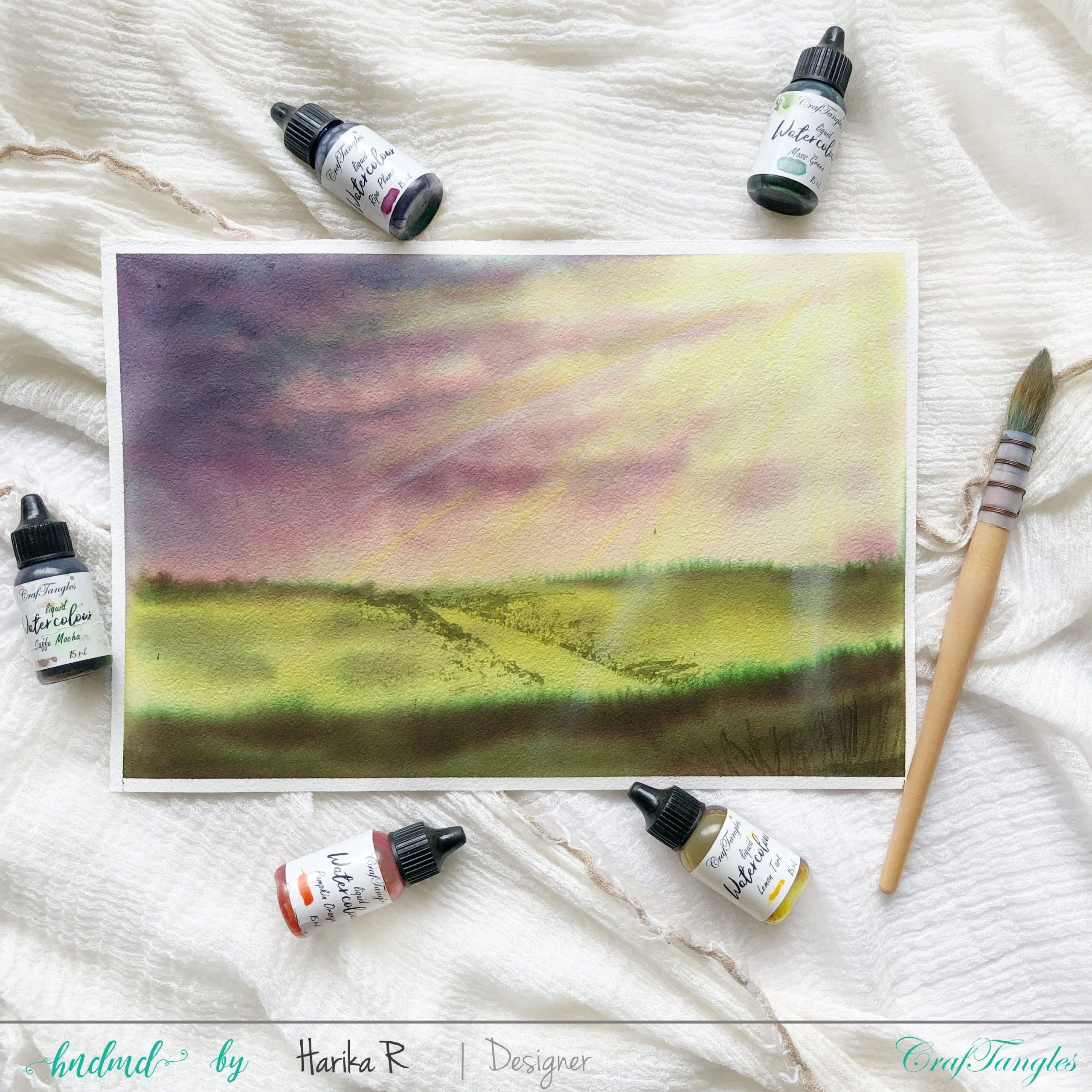 watercolored field