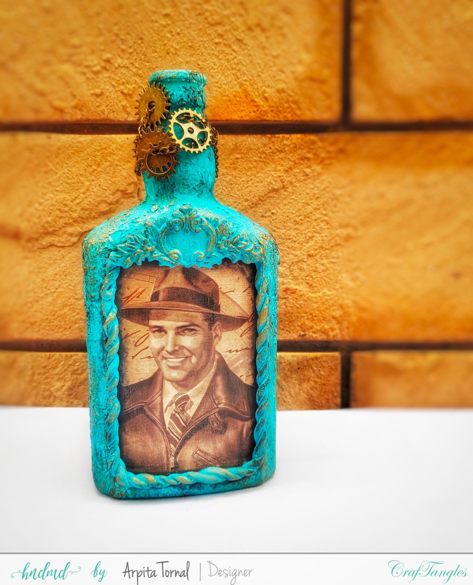 Gorgeous Vintage Decoupage Bottle 6