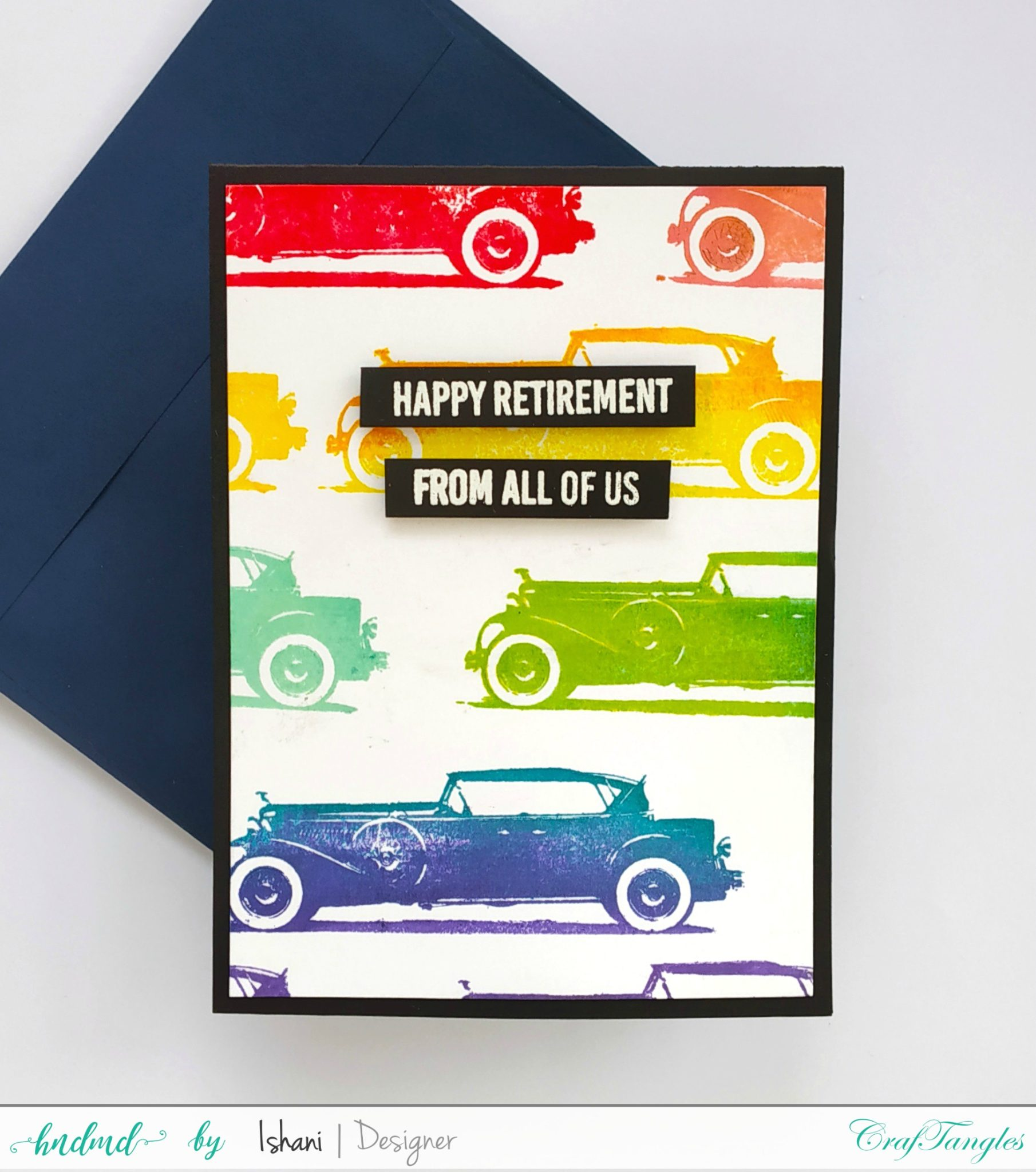 Vintage Car card for men - Retirement card, repetitive stamping, rainbow color stamping, card card, retirement card, vintage car card