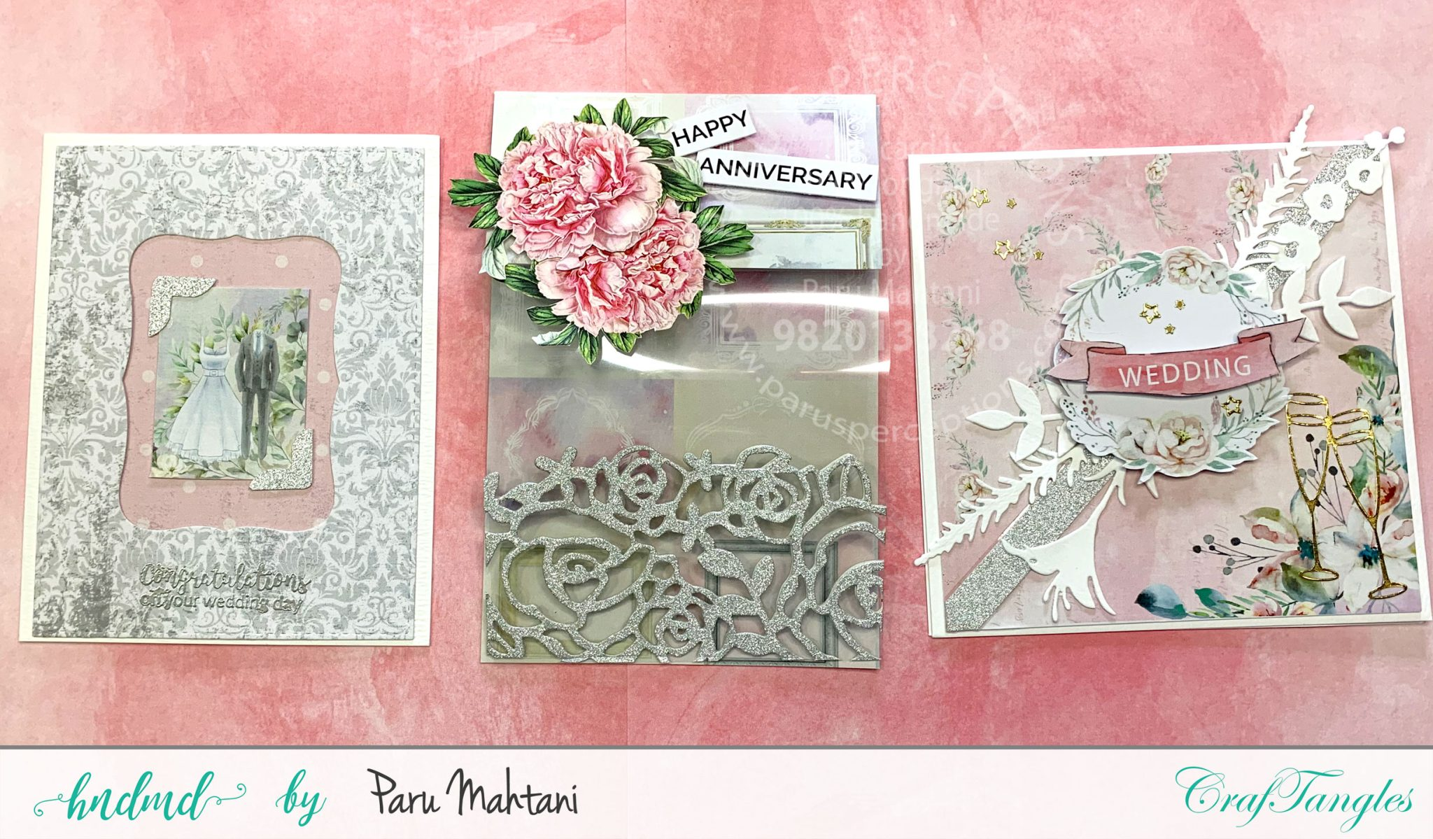 Using wedding themed papers to create beautiful cards. 3