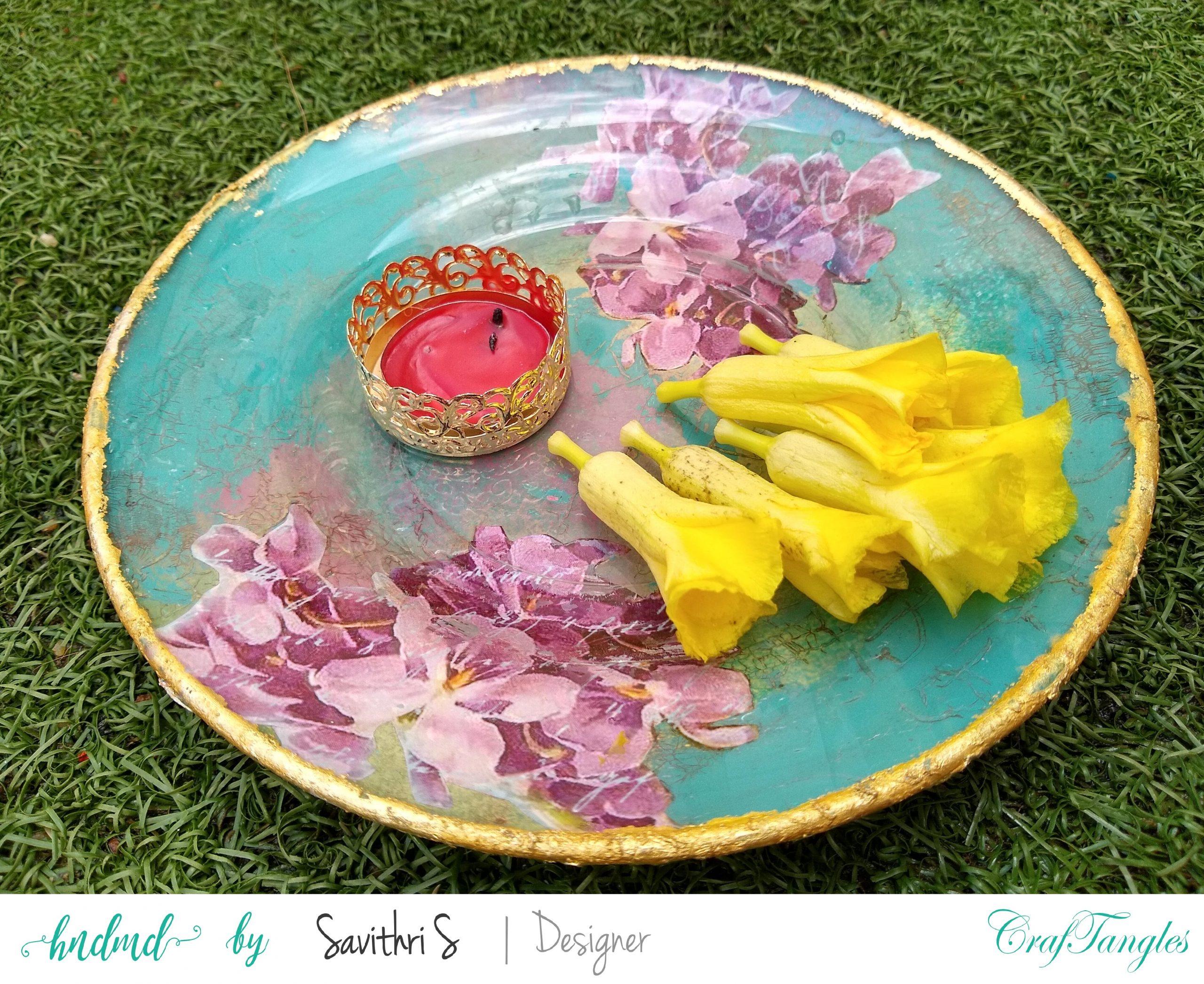 Exclusive Designer Ware Decoupage Glass Platter 7