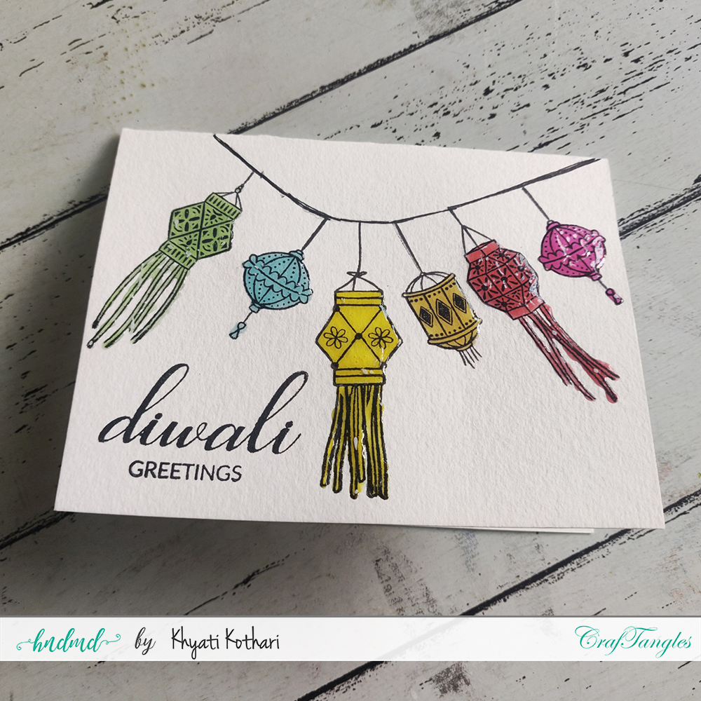 Colorful and easy Diwali Card 3