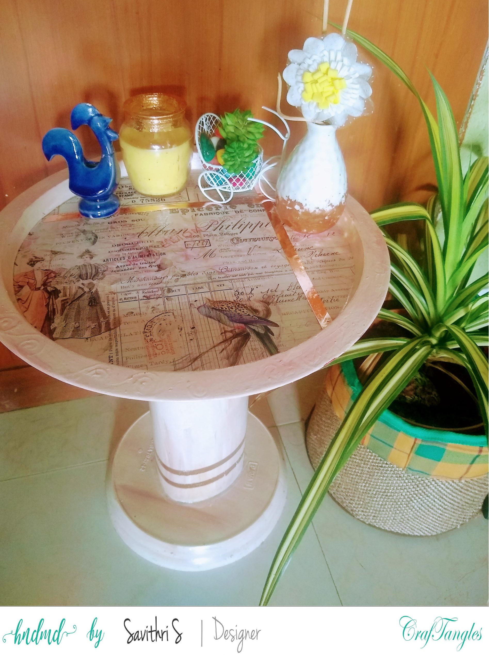 Shabby Chic Treasure - Decoupage Tole Tray Table 4