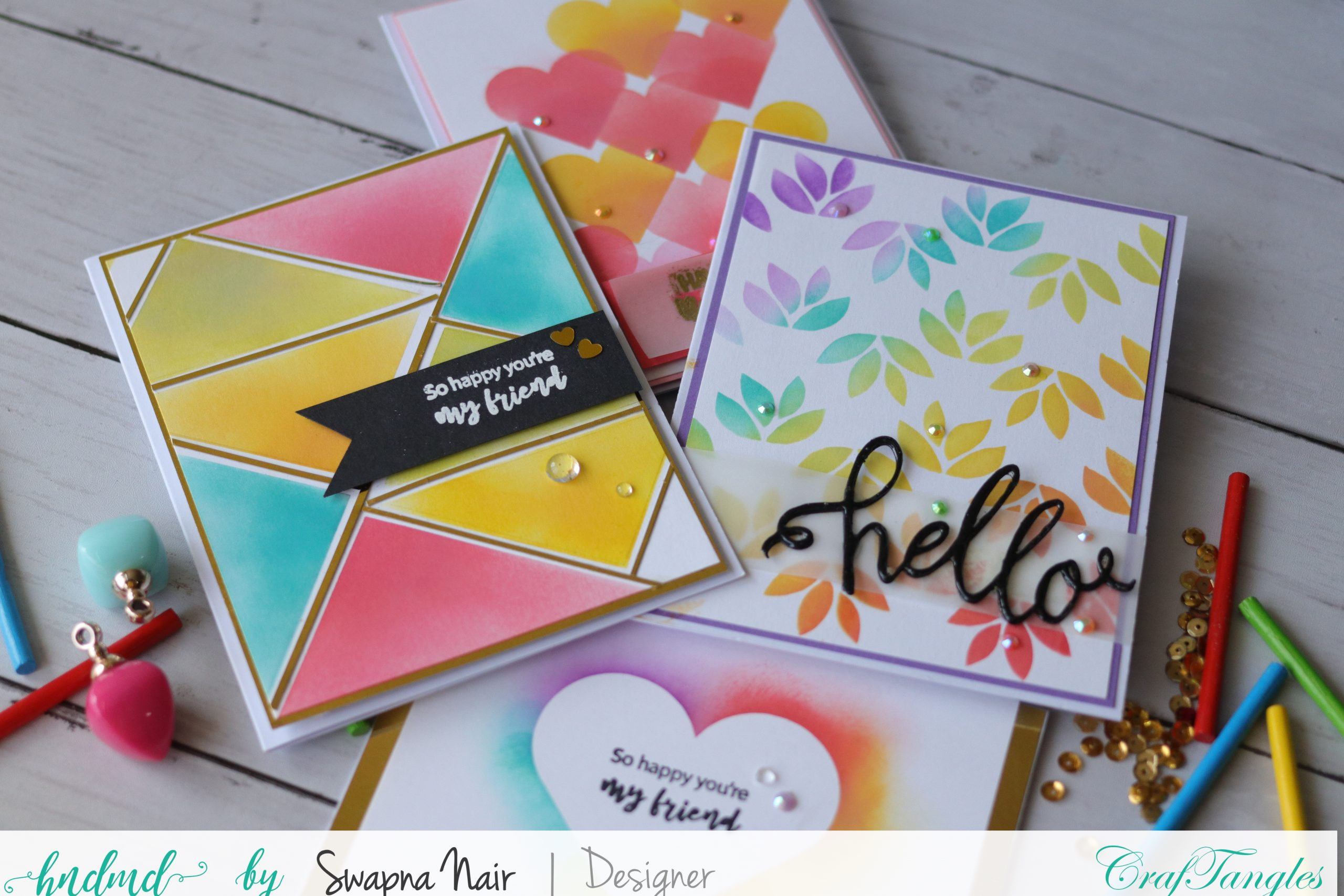 Cardmaking Ideas - 4 Easy Cards using Stencils 4