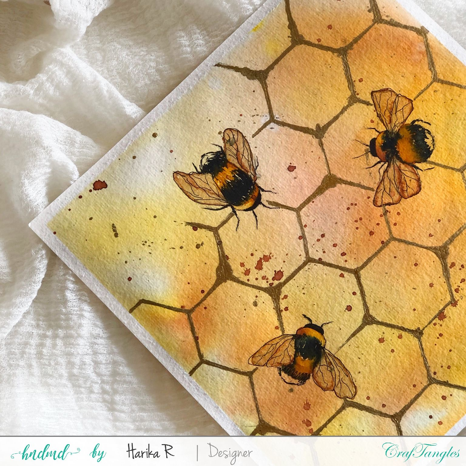 Beautiful Honey-bee Watercolor Tutorial 2