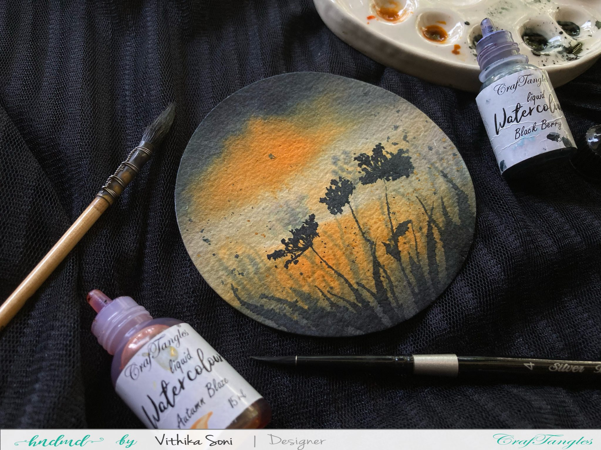 Watercolor tutorial on Round paper 1