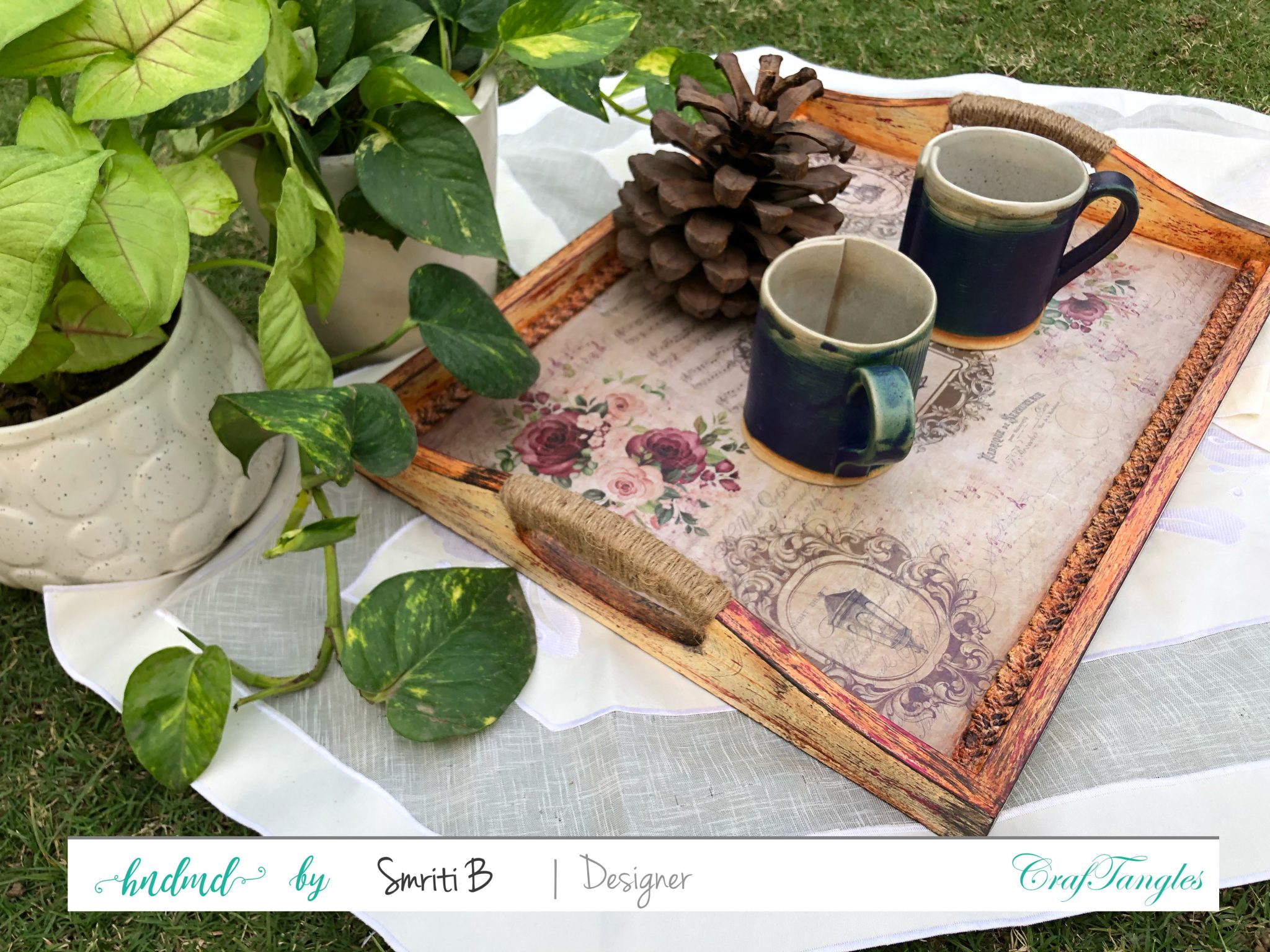Vintage Butler Decoupage Tray using Transfer It sheets and Deco thin Paper 3