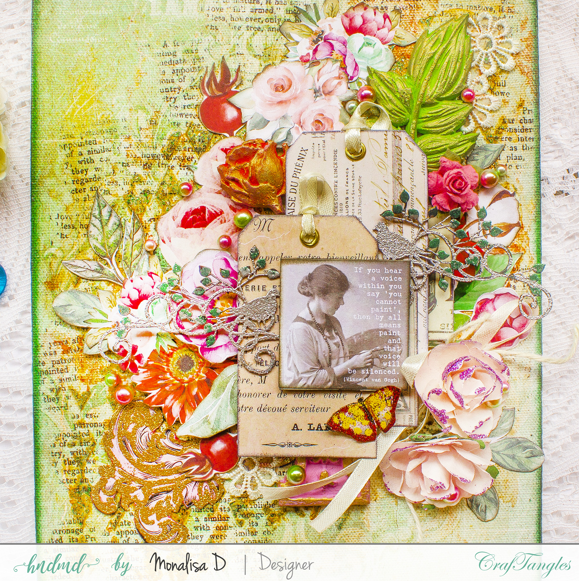 Courage - A mixed media layout using Transfer It sheets 6