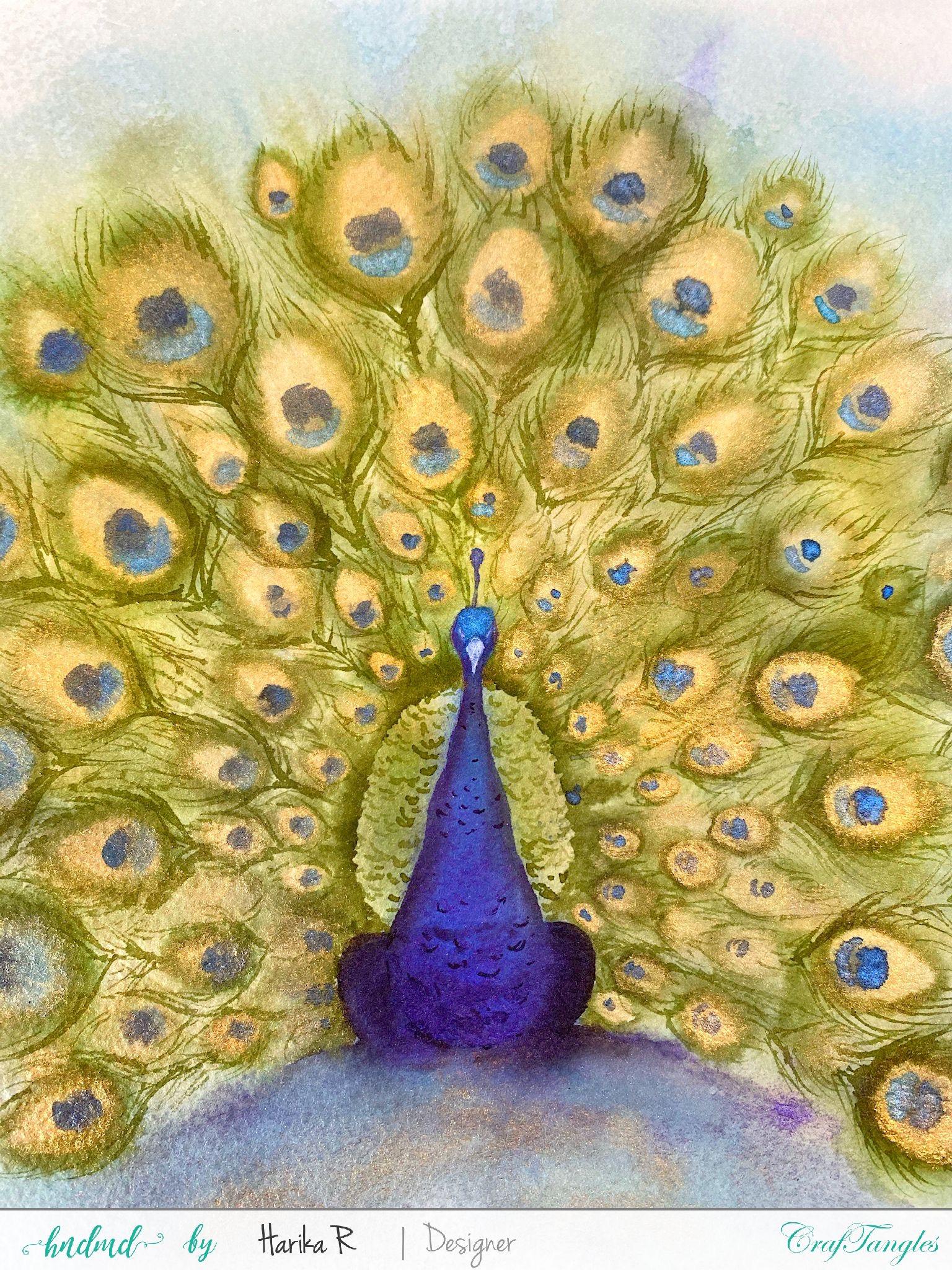 Beautiful Peacock Painting Tutorial using Liquid Watercolors 5