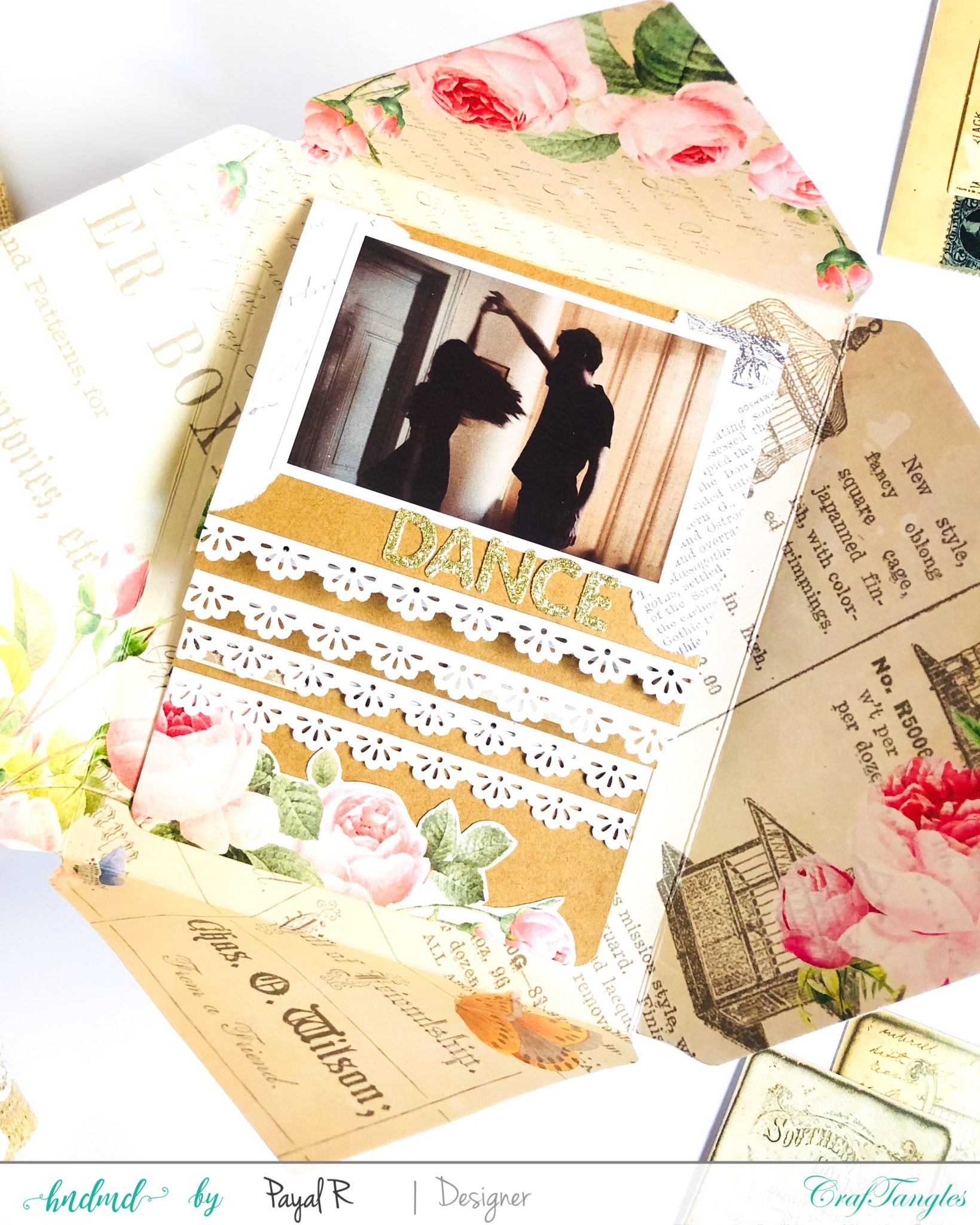 Vintage Waterfall Card with Envelope using Rosette Collection 2