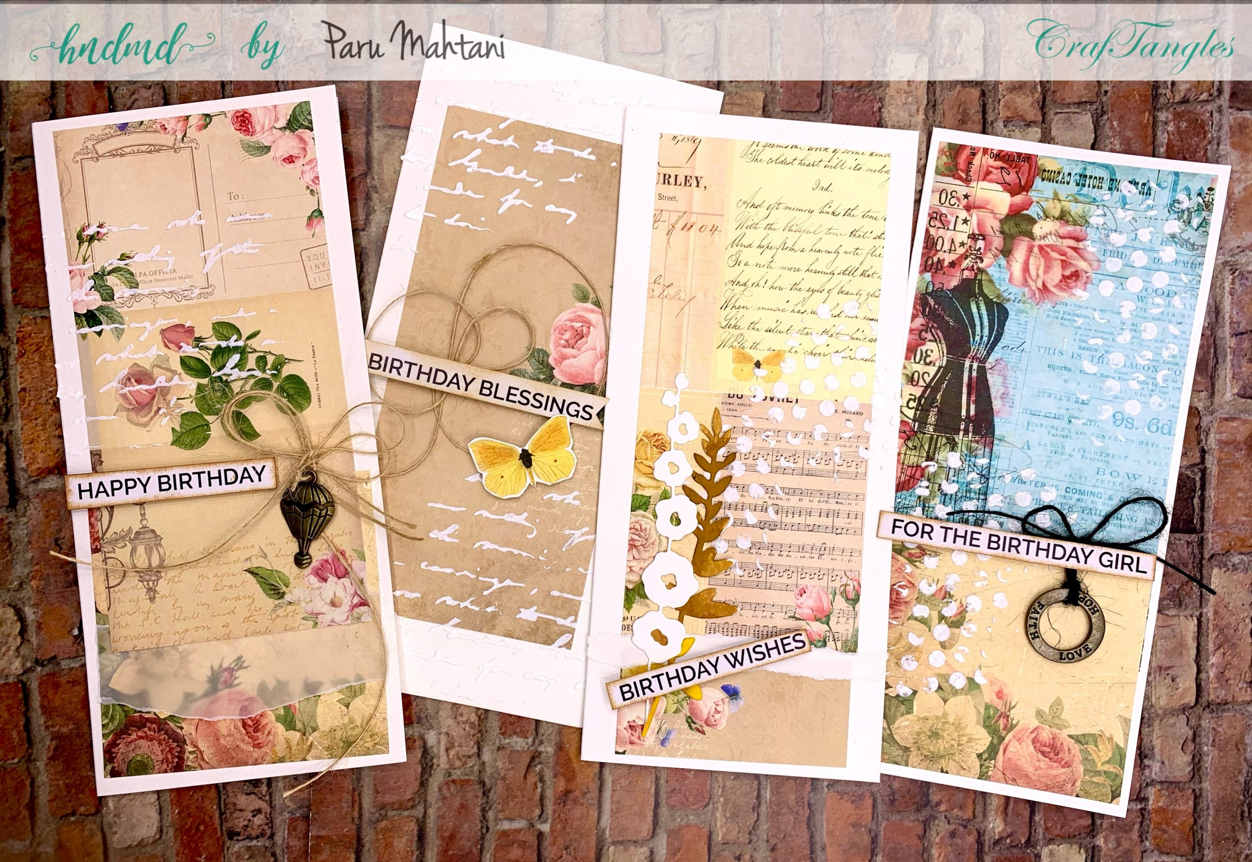 4 beautiful Shabby chic and vintage birthday cards 4