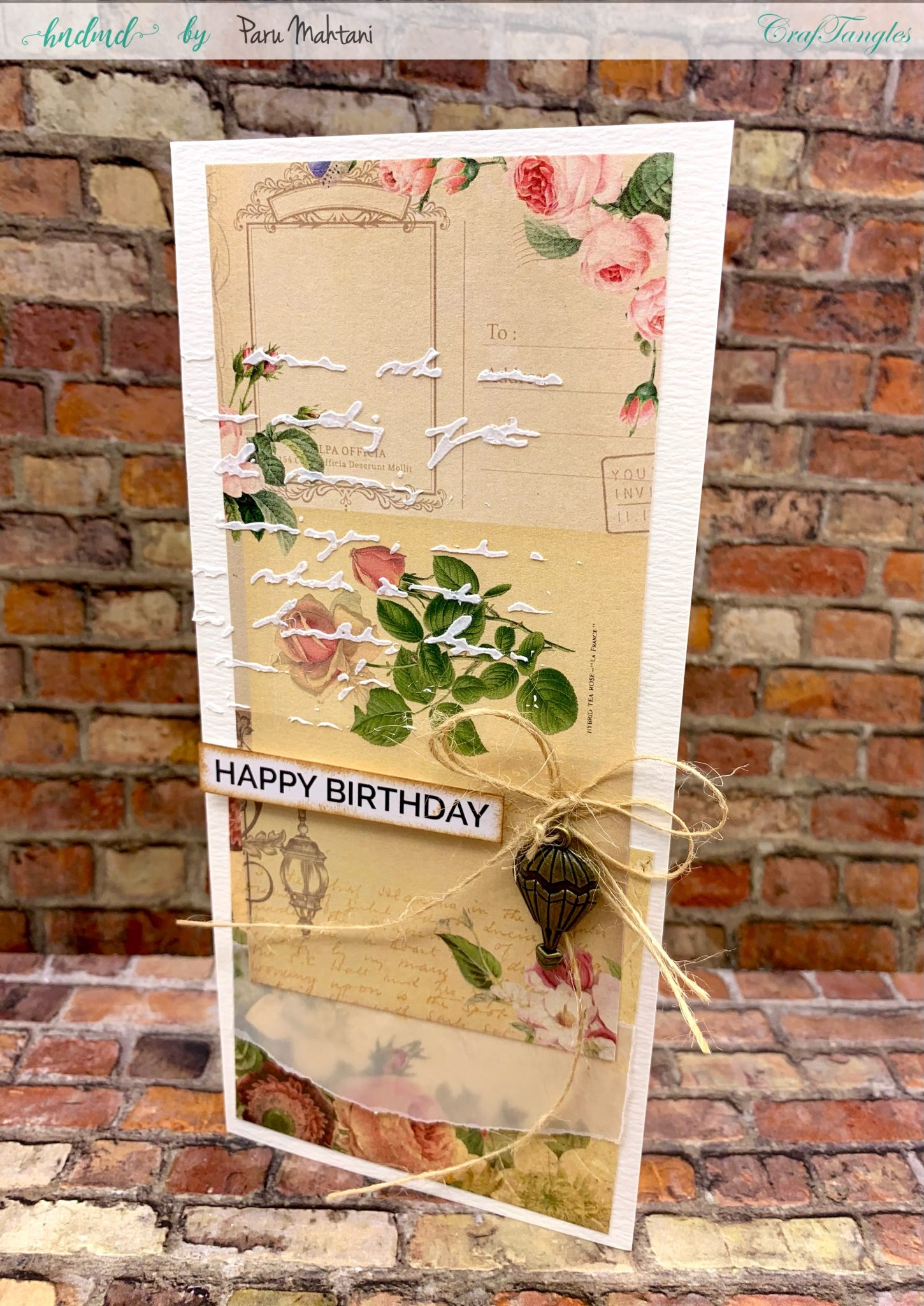 4 beautiful Shabby chic and vintage birthday cards 1