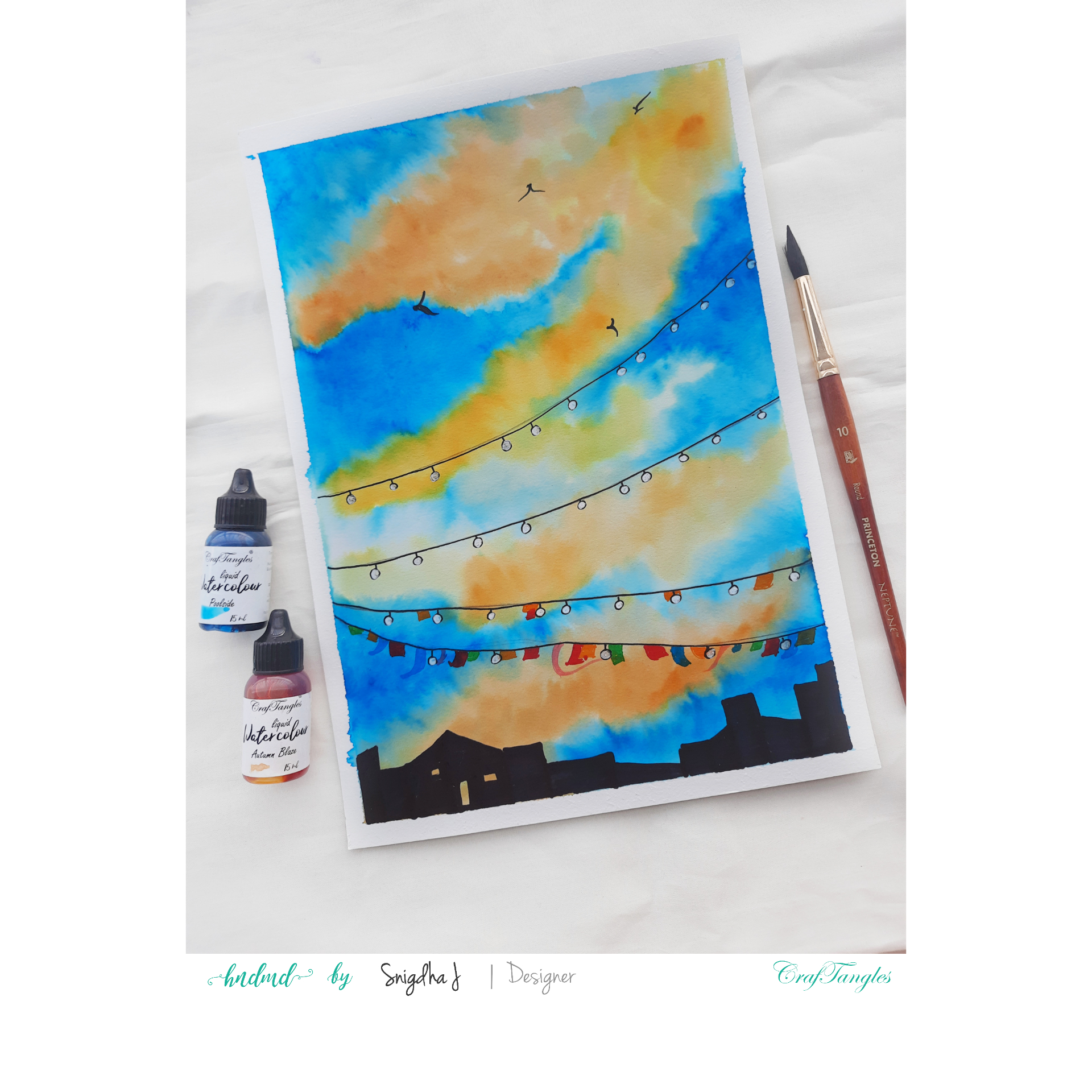 Beautiful skyscape watercolour painting