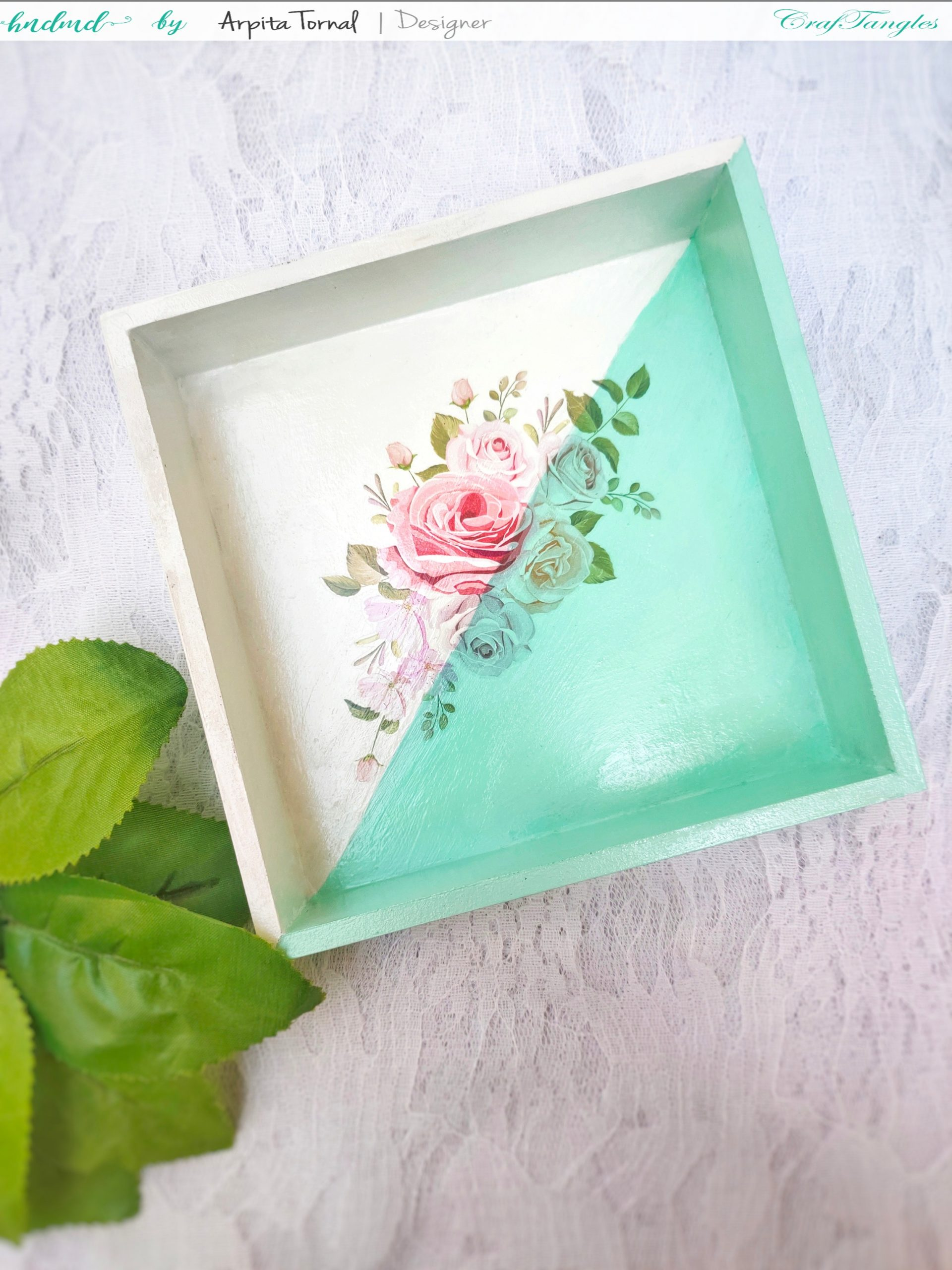 Floral tray decoupage with transfer it sheets