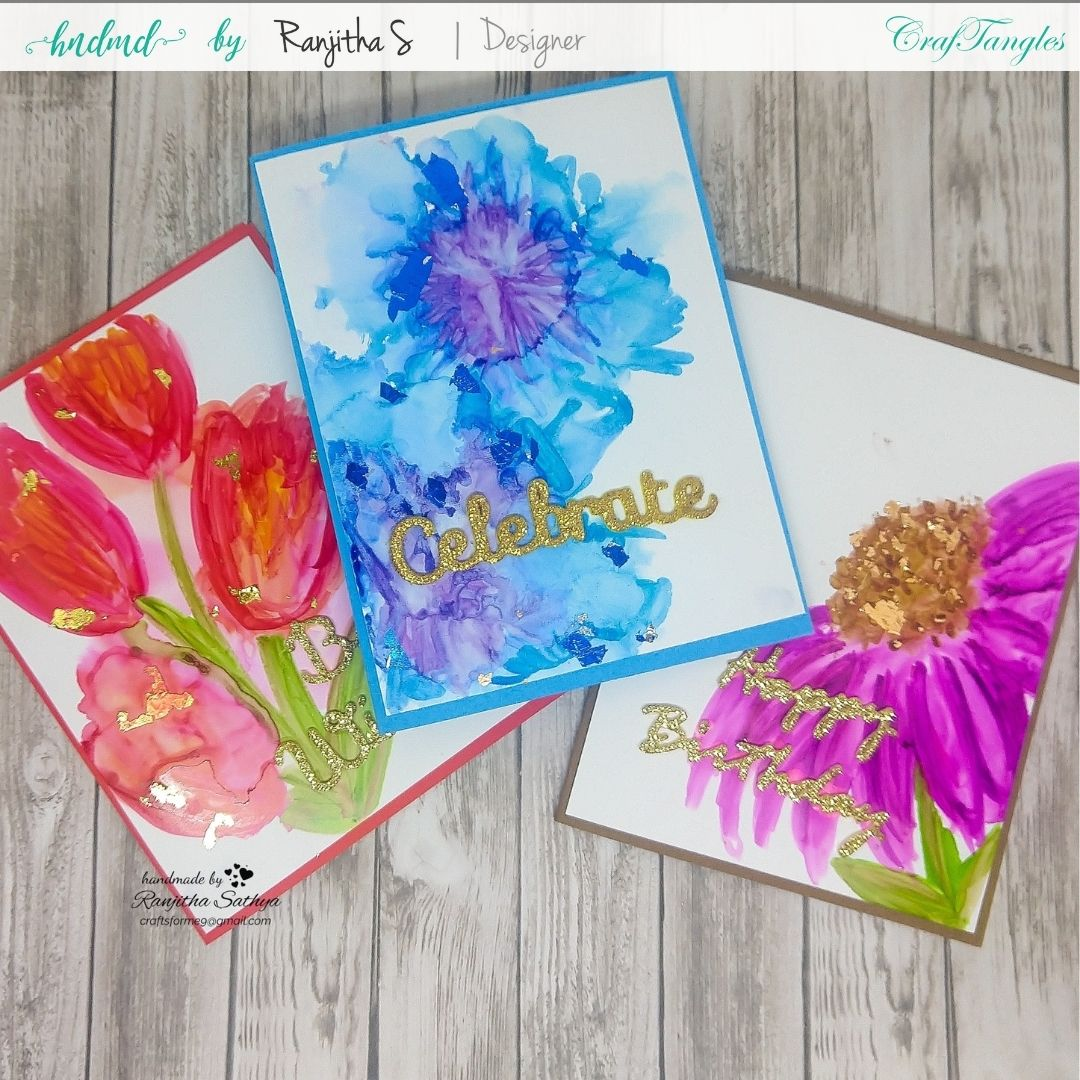3 floral cards using gilding flakes & alcohol markers