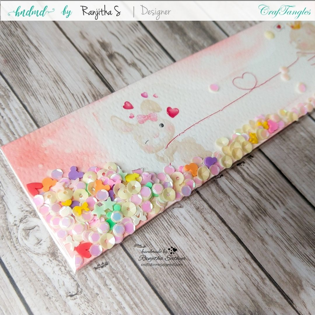 Beautiful Shaker Bookmark and envelope in a different style 1