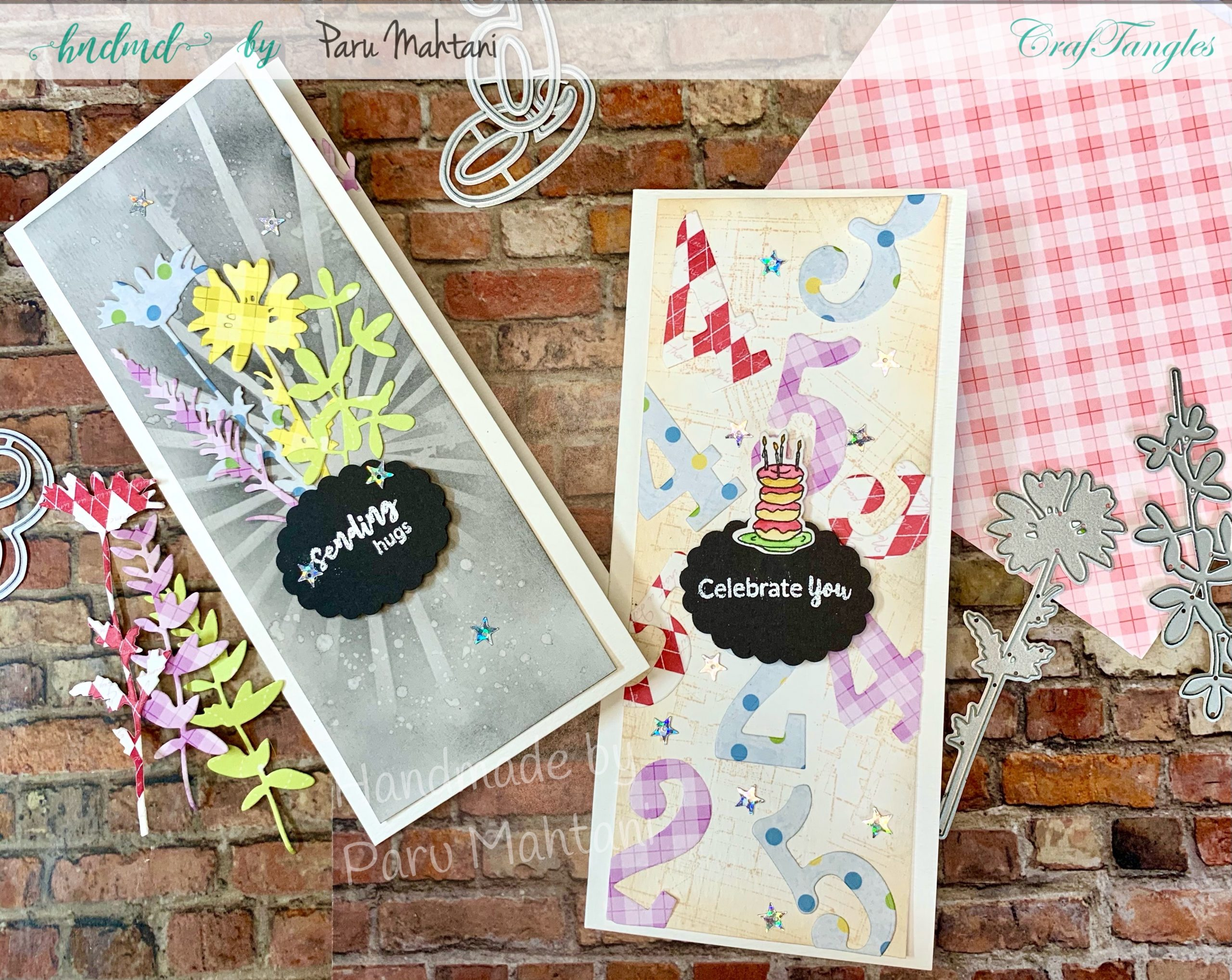 2 shades of rainbow patterned paper cards