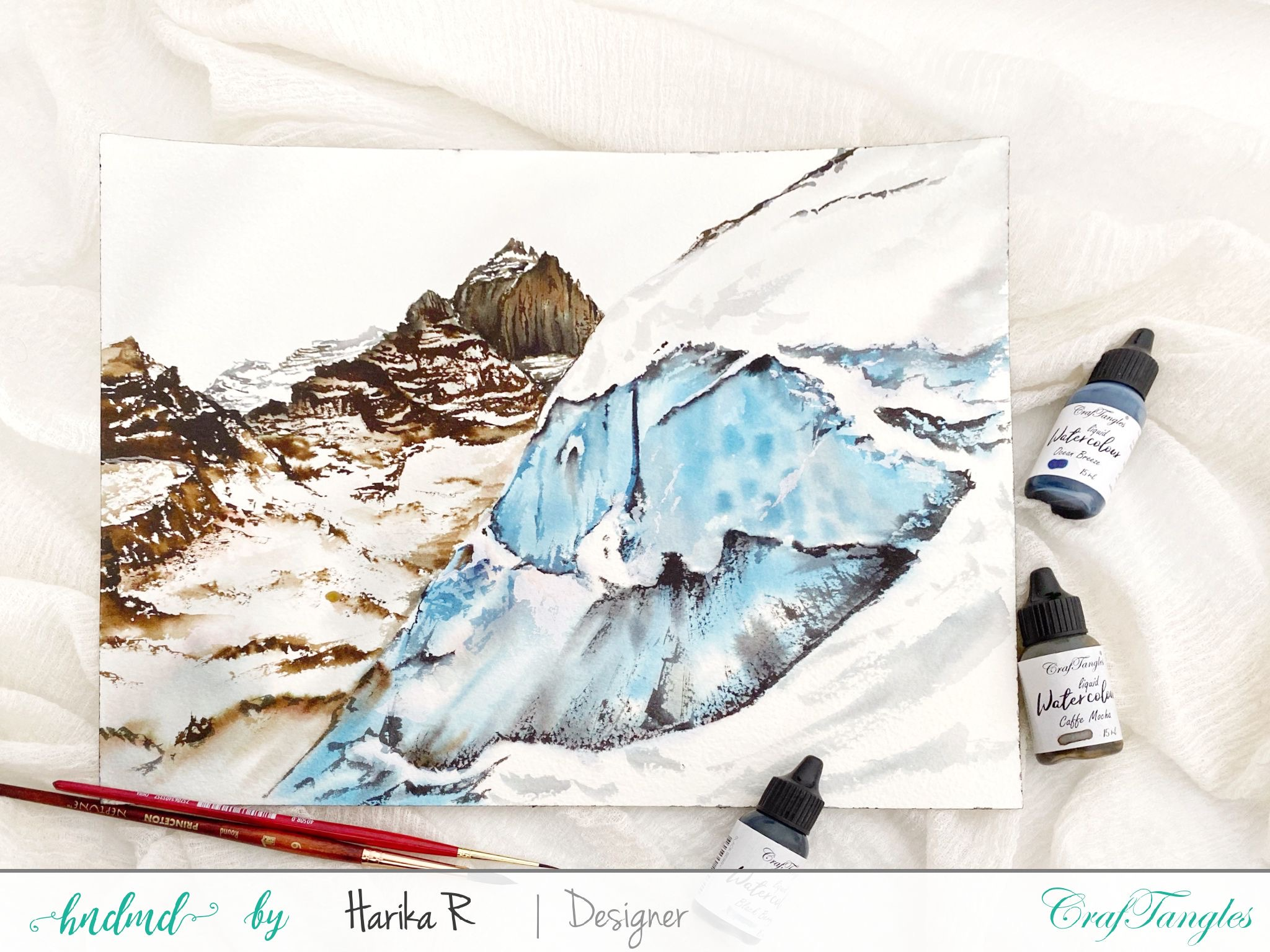 Hilly Landscape Watercolour Painting